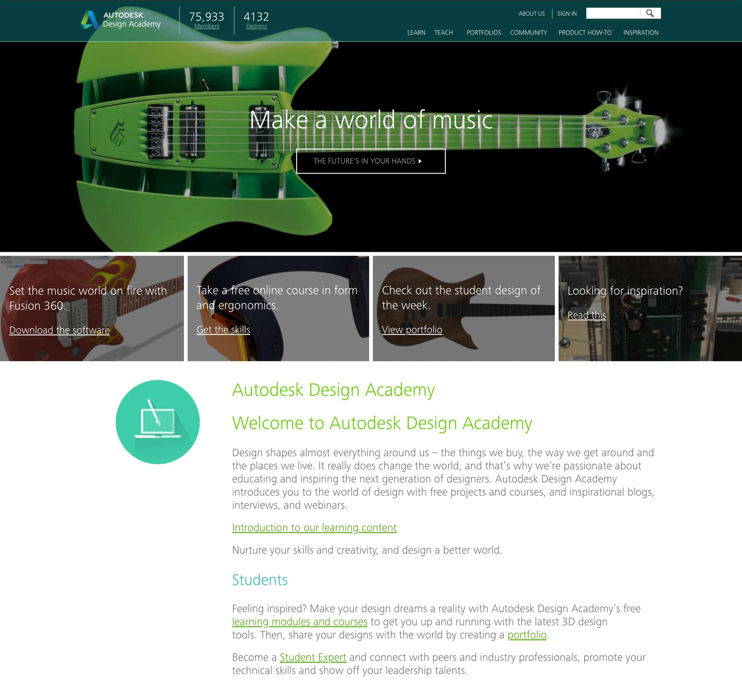 A screenshot of Autodesk Design Academy's homepage, a Kanopi Studio's case study.