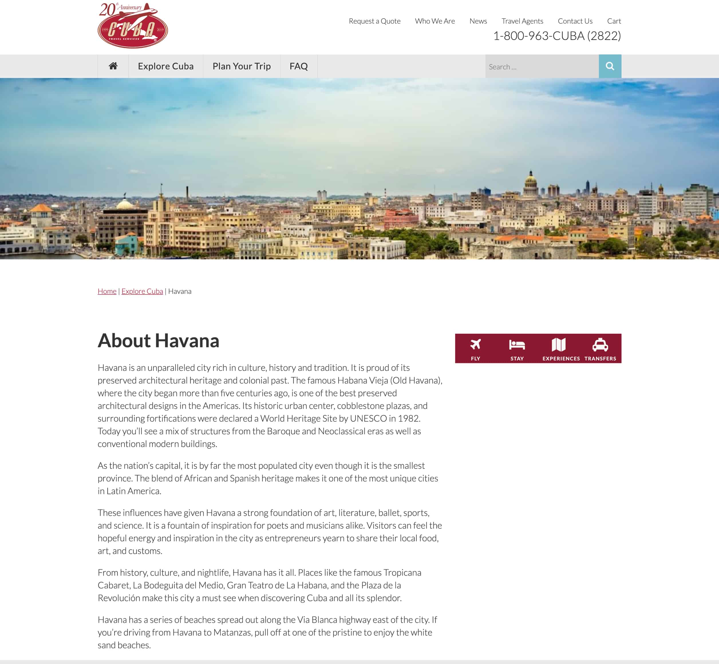 Screenshot of Cuba Travel's information web page about Havana, a Kanopi Studios case study.