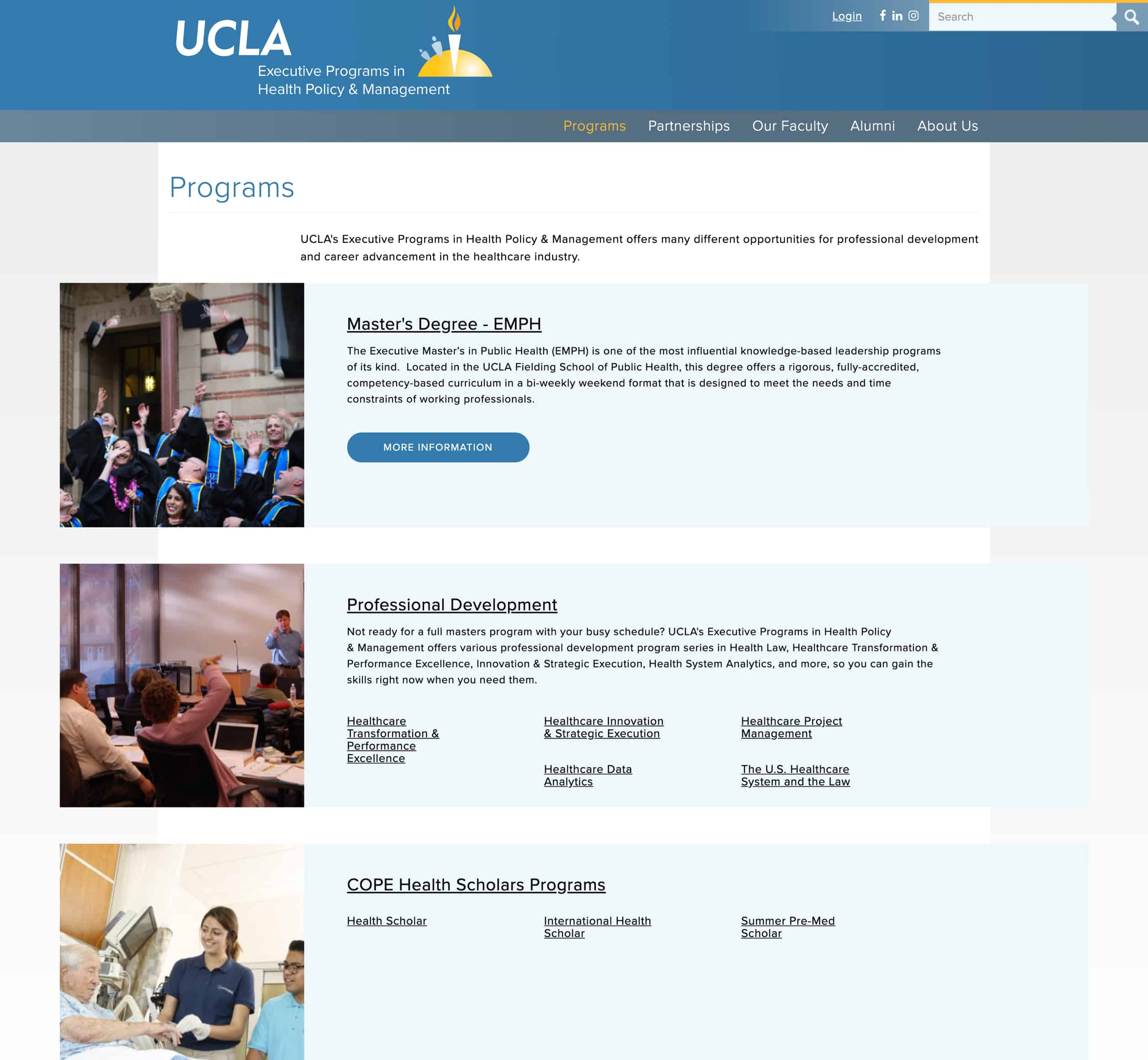 A screenshot of UCLA's Executive Programs in Health Policy and Management's programs list, a Kanopi Studios case study.