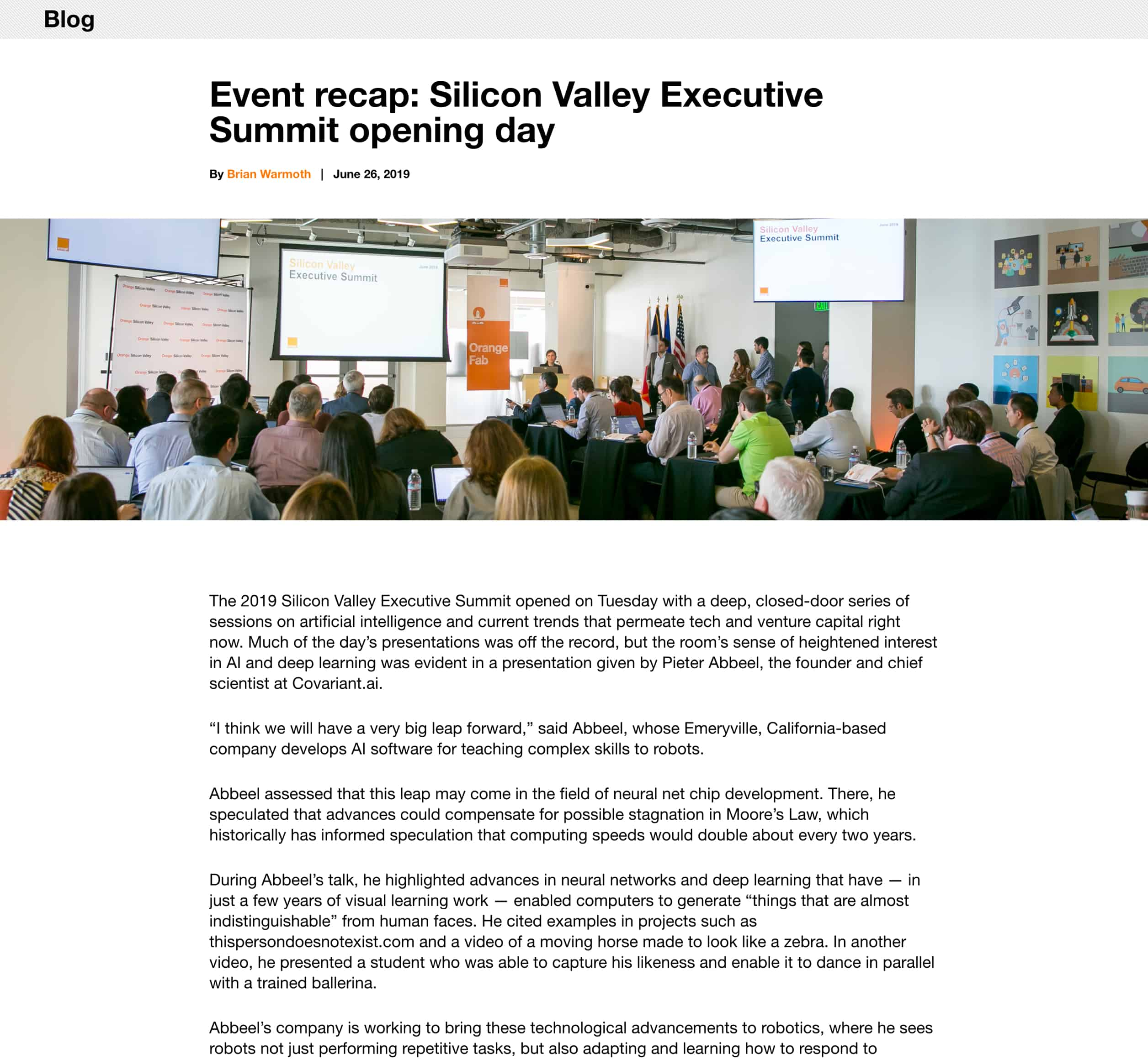 A screenshot of Orange Silicon Valley's blog post, a Kanopi Studios case study.