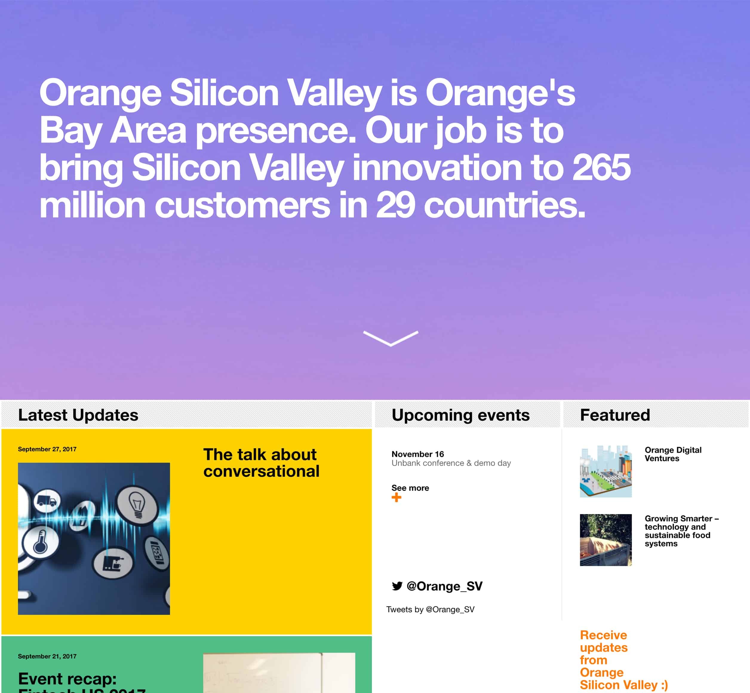 A screenshot of Orange Silicon Valley's homepage, a Kanopi Studios case study.