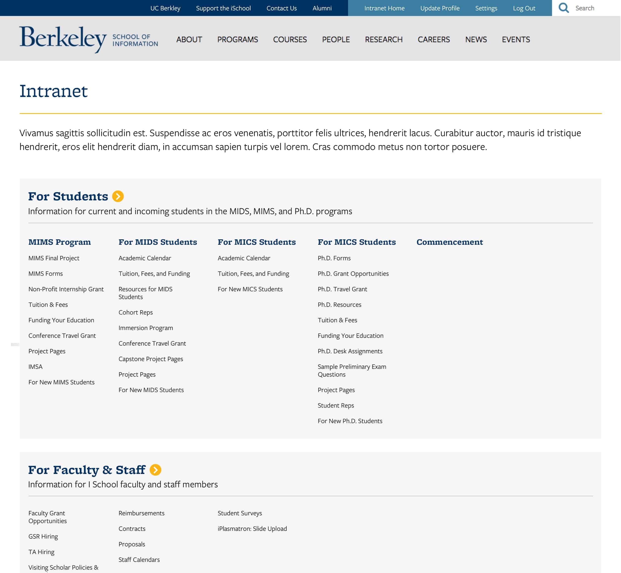 A screenshot of Berkeley School of Information's intranet, a Kanopi Studios case study.