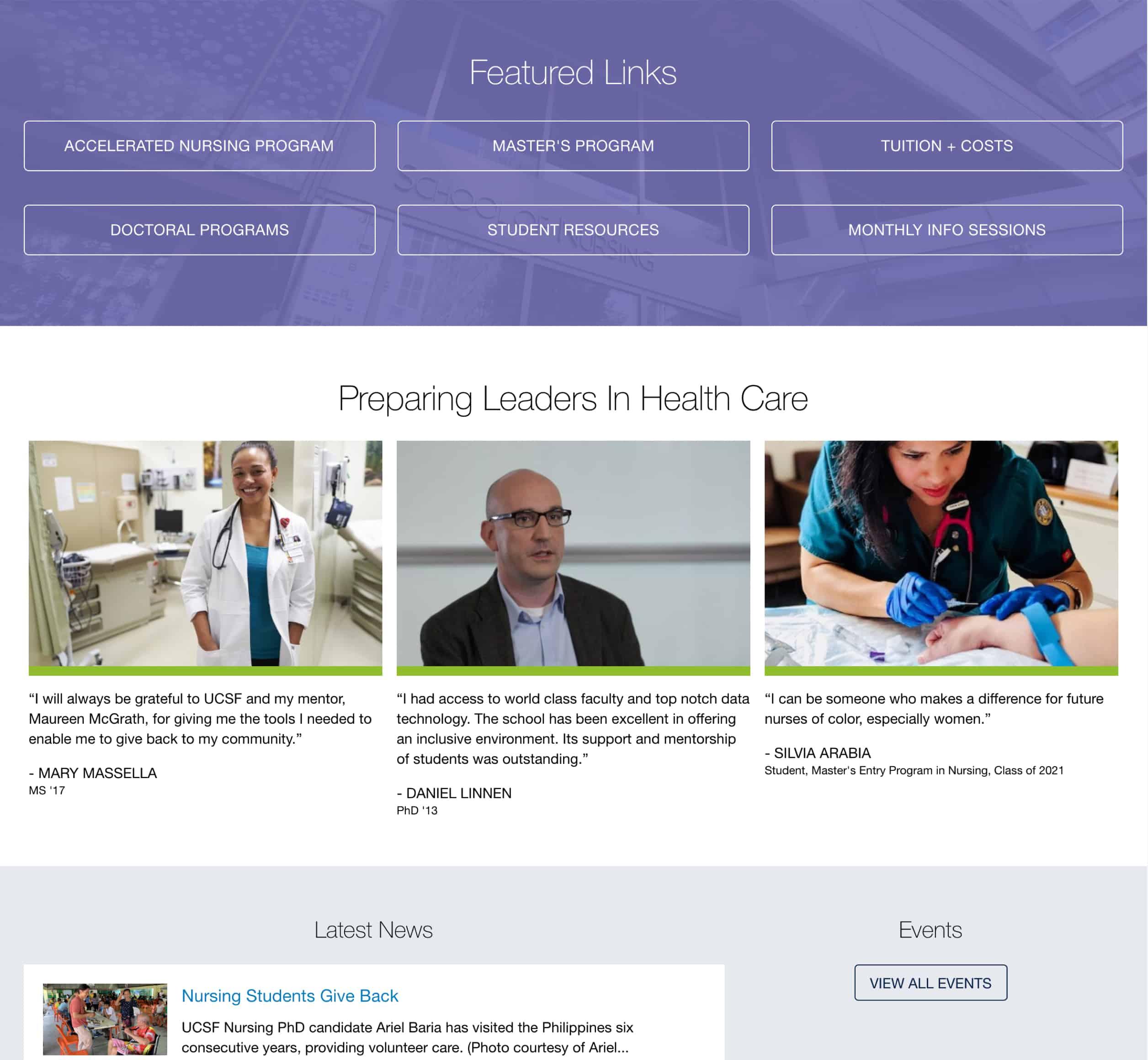 UCSF Nursing home page alternate