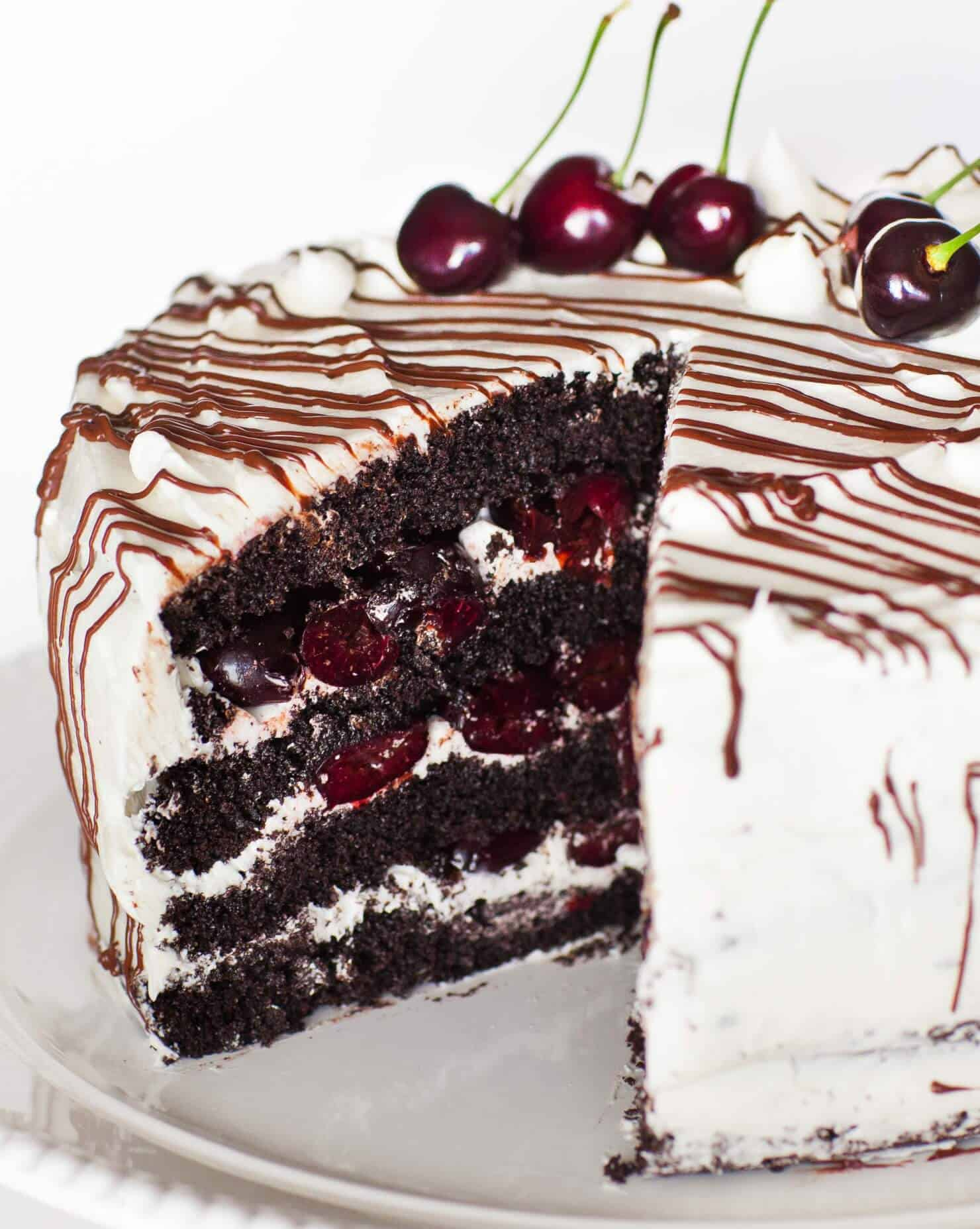 insdide chocolate cherry cake