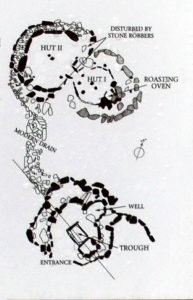 A diagram showing the layout and basic structure of the two joined stone huts and the cooking pit (Fulacht Fiadh) at the Drombeg Stone Circle - The Irish Place