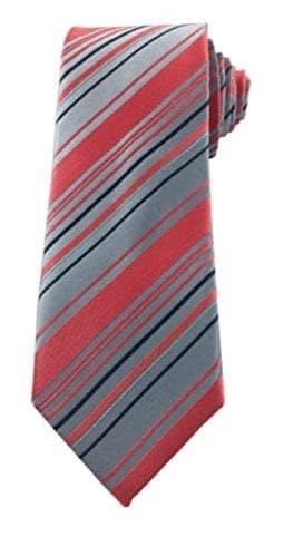 Mens Burgundy, Gray and Silver Striped Skinny Necktie with Matching Pocket Square