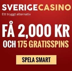Sverige Casino 175 gratis spins + 2,000 SEK free bonus for Sweden