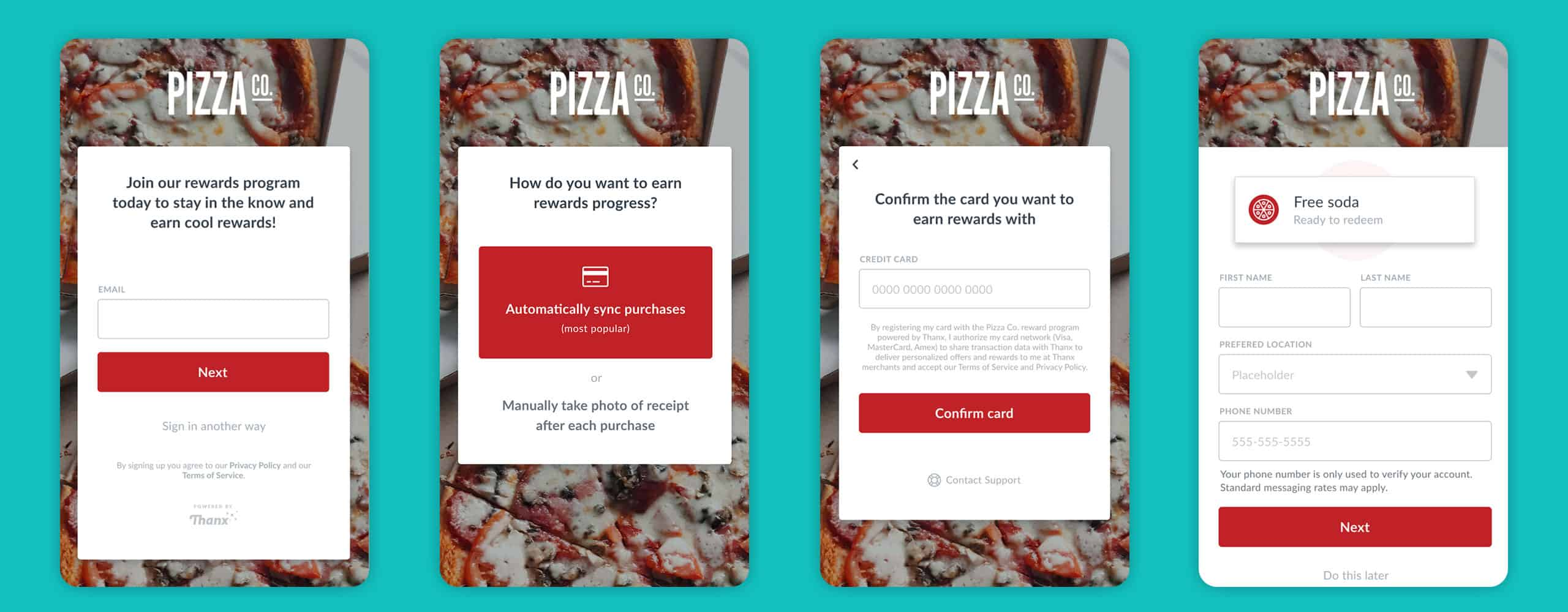 New sign-up flow screens