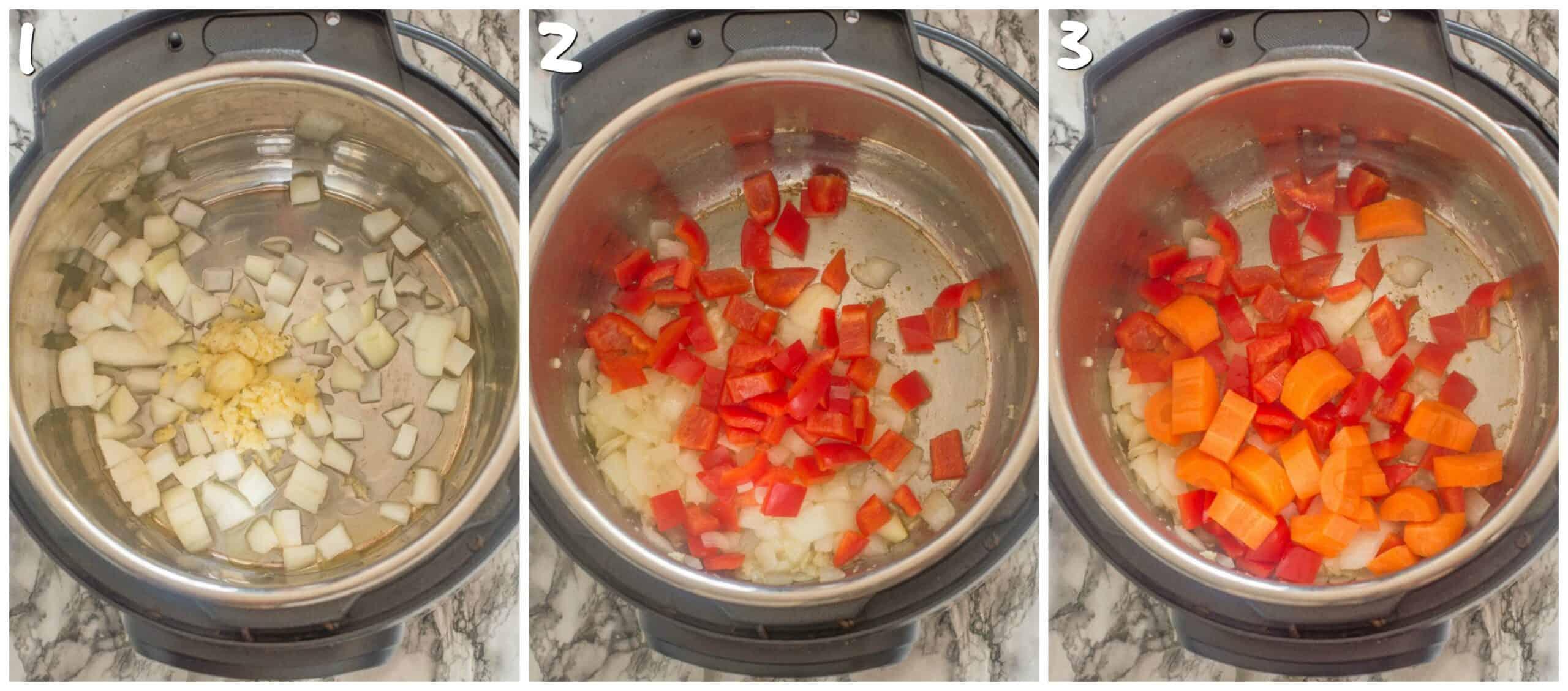 steps 1-3 sauteing vegetables