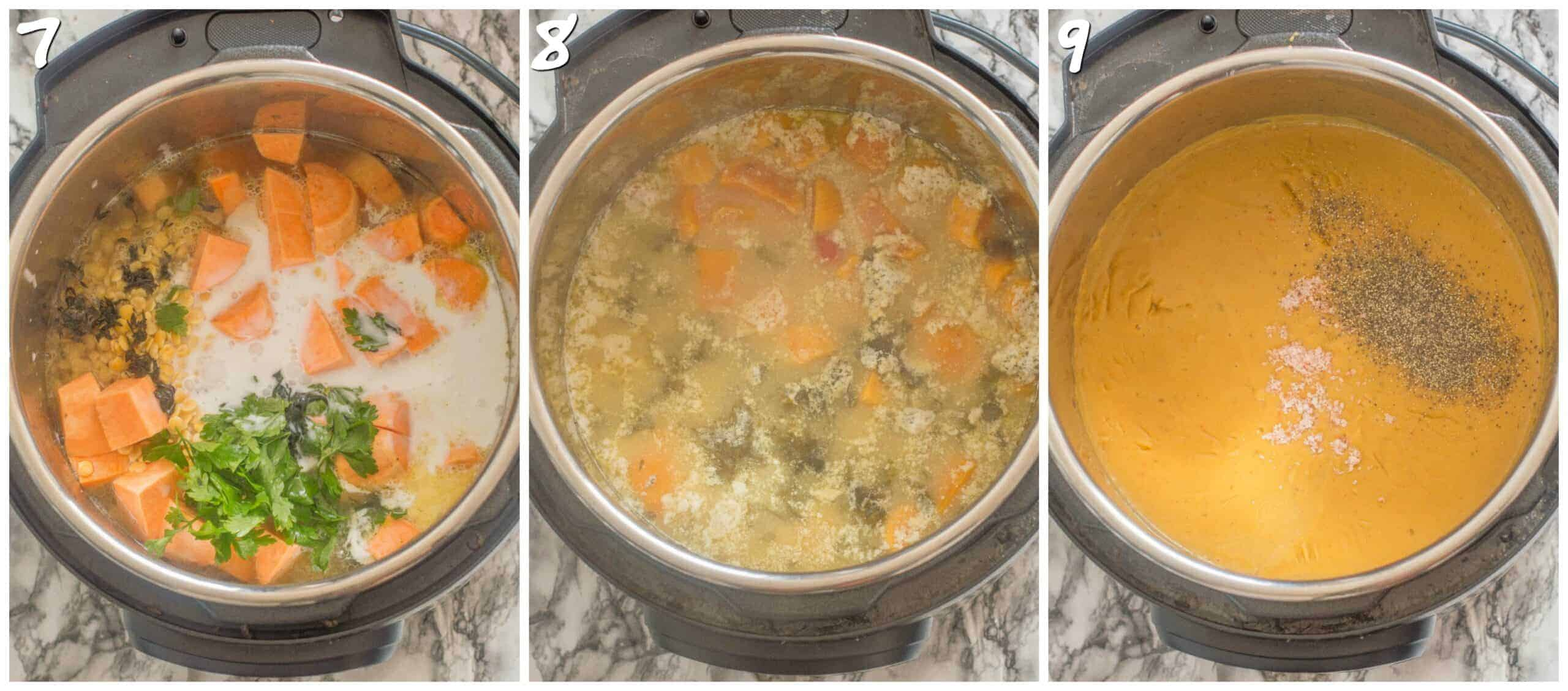 steps 7-9 pureeing the soup