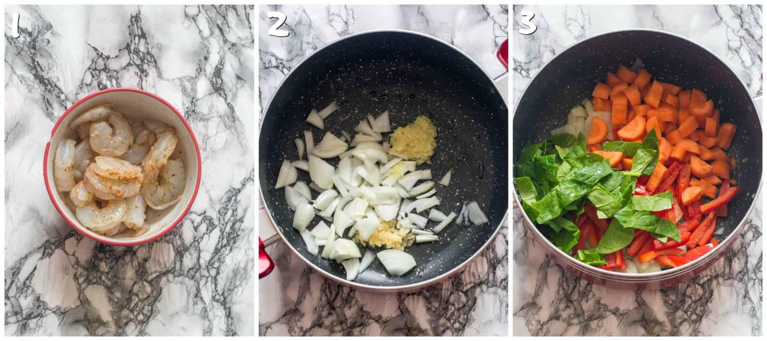 steps 1-3 marinating prawns and sauteing veg