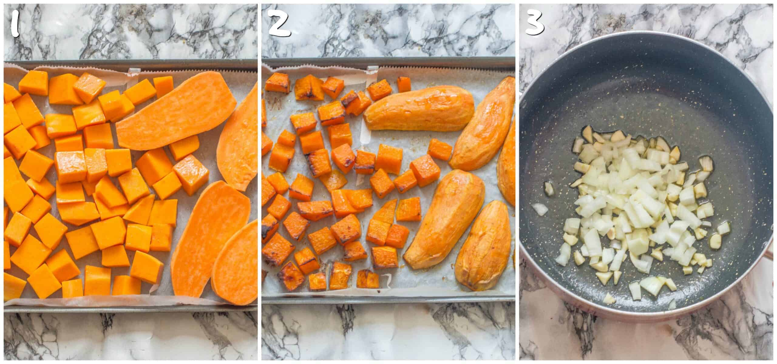 steps 1-3 roasting the pumpkin and sauteing