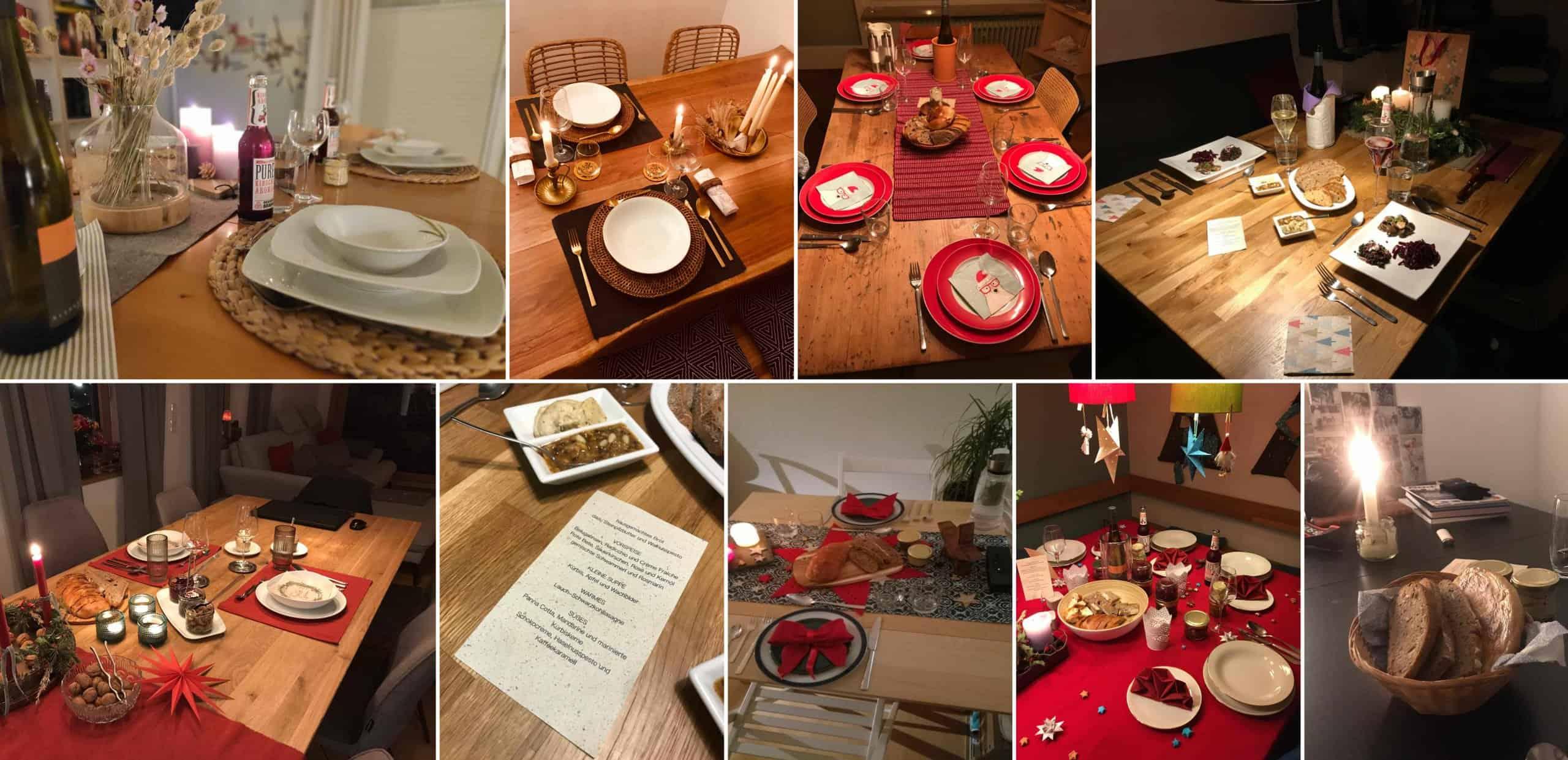 Bild: Digitale Weihnachtsfeier, festlich gedeckte Weihnachtstische, Fotos: ver.de landschaftsarchitektur