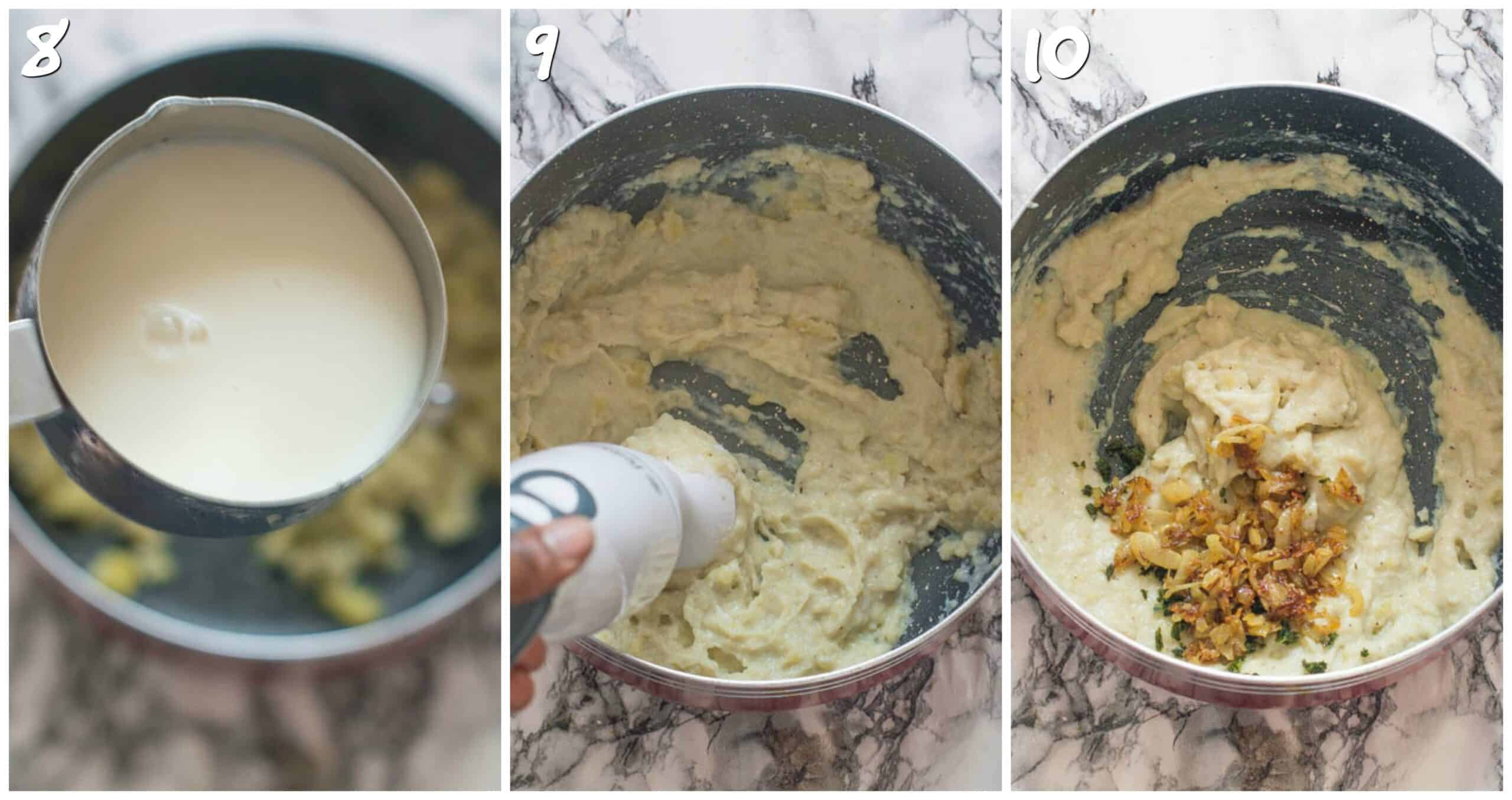 steps 8-10 mashing bananas and mixing with onions