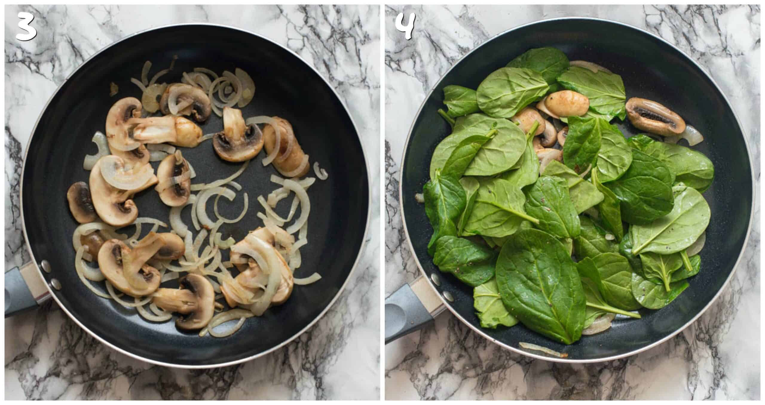 steps 3-4 adding mushrooms and spinach