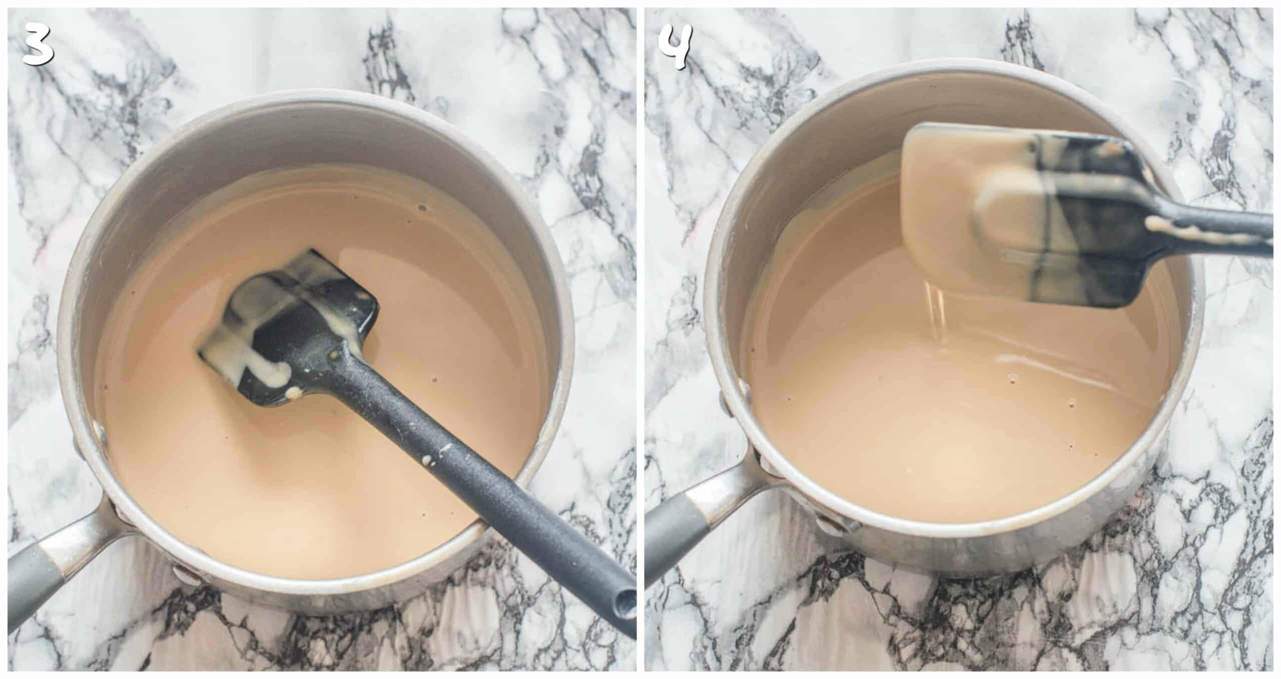 steps 3-4 thickening the condensed milk
