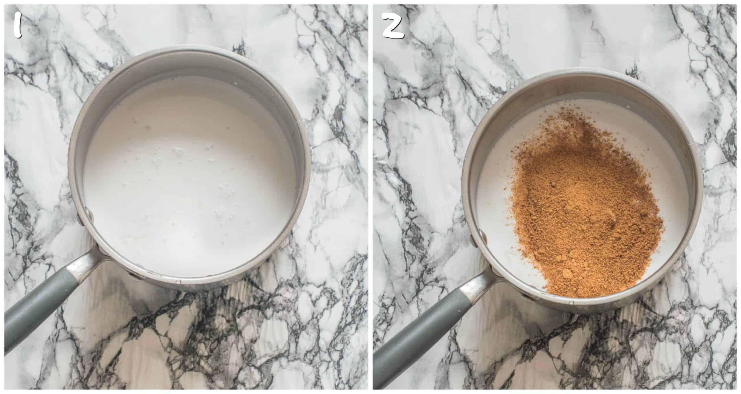 steps 1-2 boiling milk and adding coconut sugar