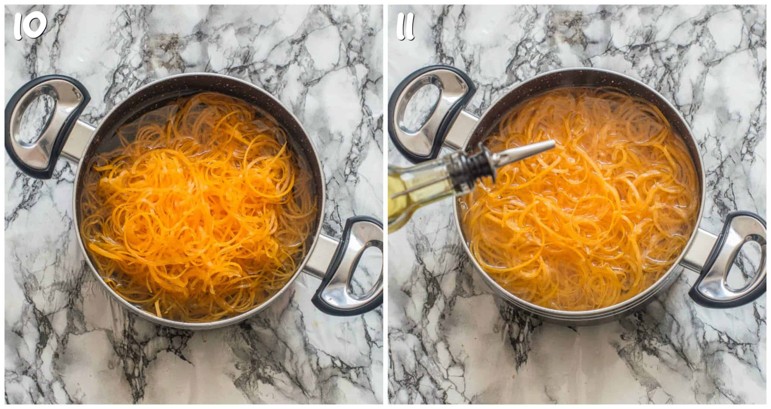 steps 10-11 boiling the butternut squash noodles