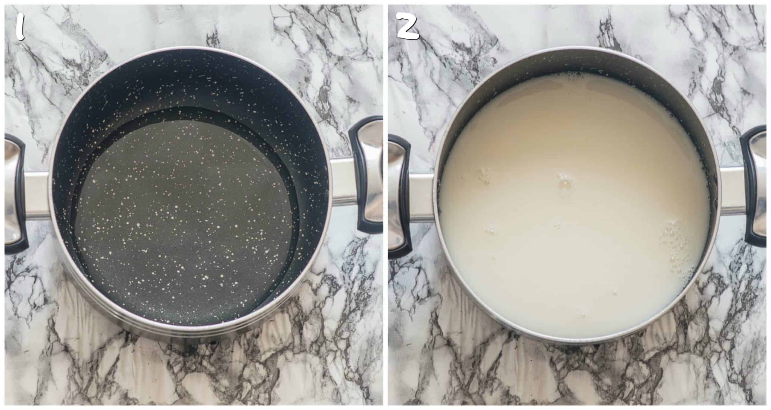 steps 1-2 add water and milk