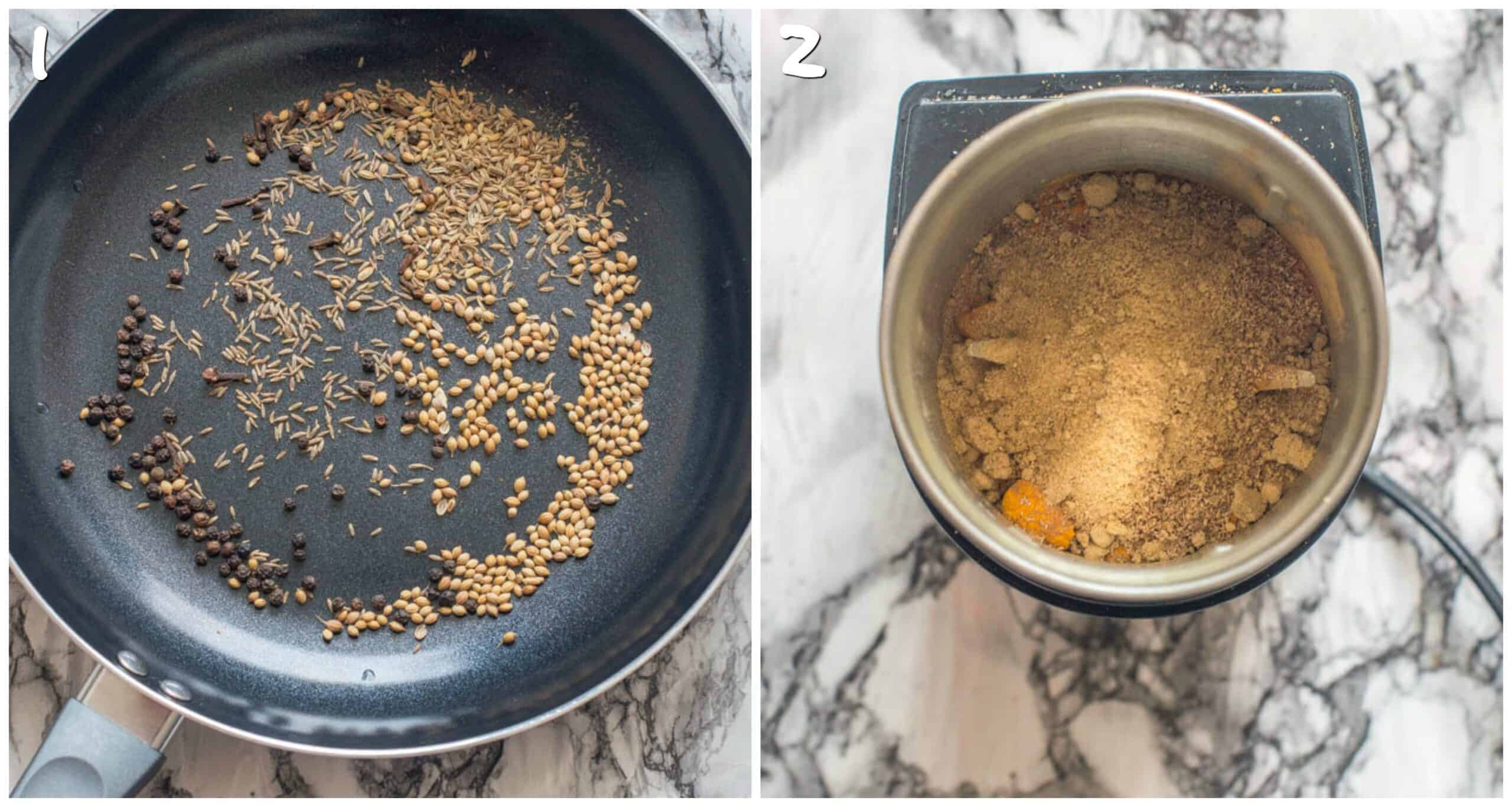 steps 1-2 toasting spices and adding ground spices to the grinder