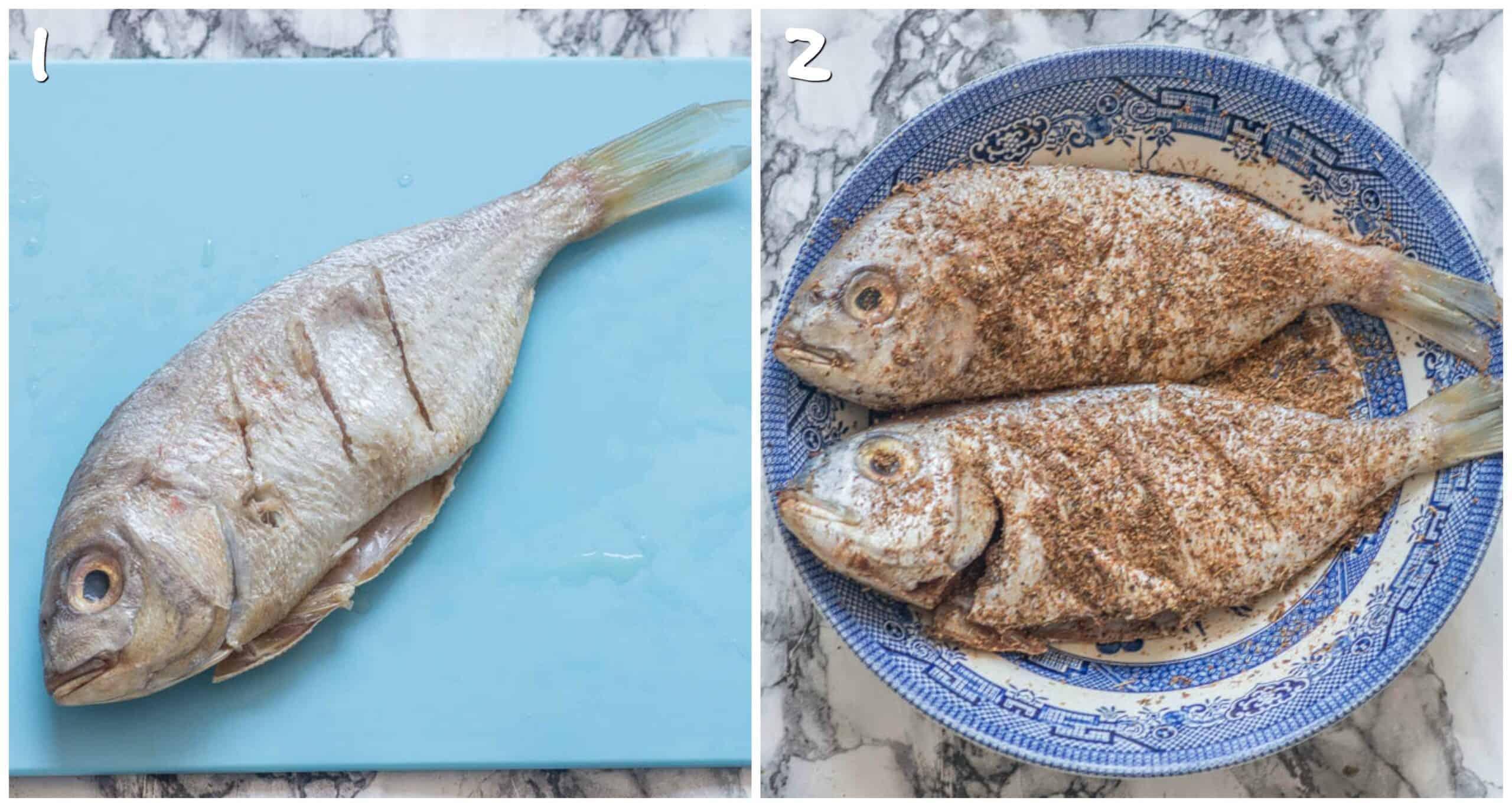 steps 1-2 slashing fish and seasoning fish