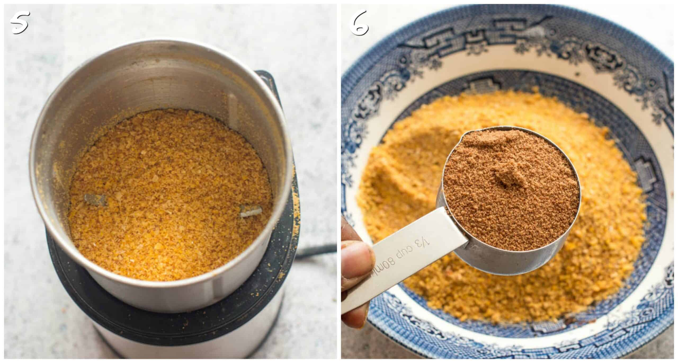 steps 5-6 ground corn and adding coconut sugar