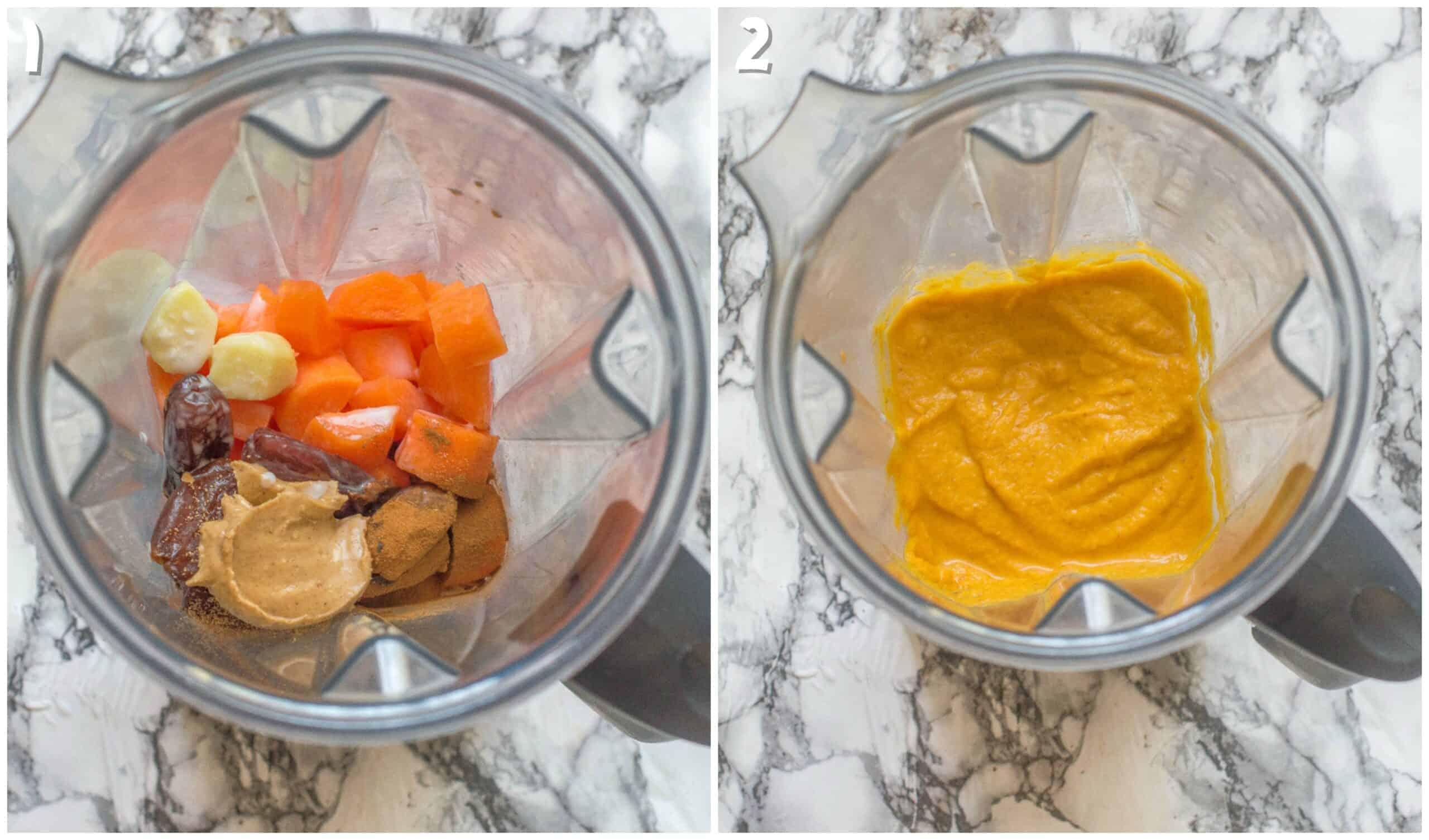 steps 1-2 making the vegan carrot pudding