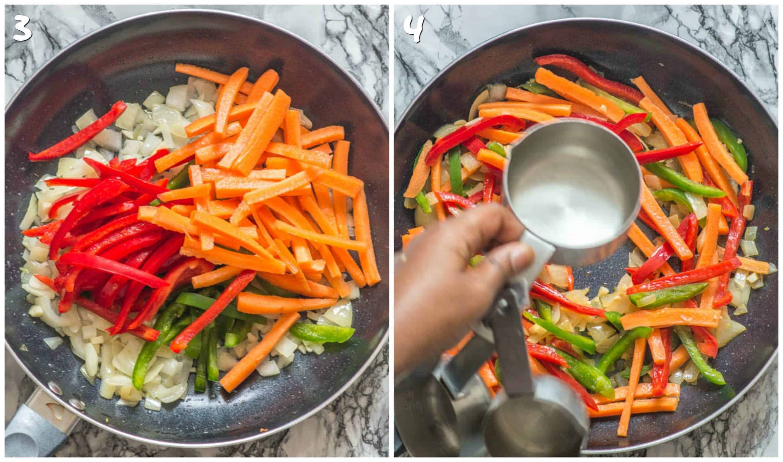 steps 3-4 sauteeing vegetables