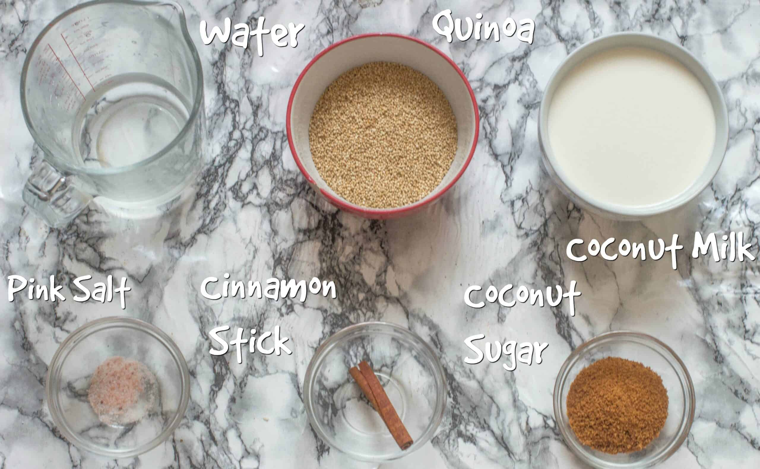 ingredients to make quinoa pudding