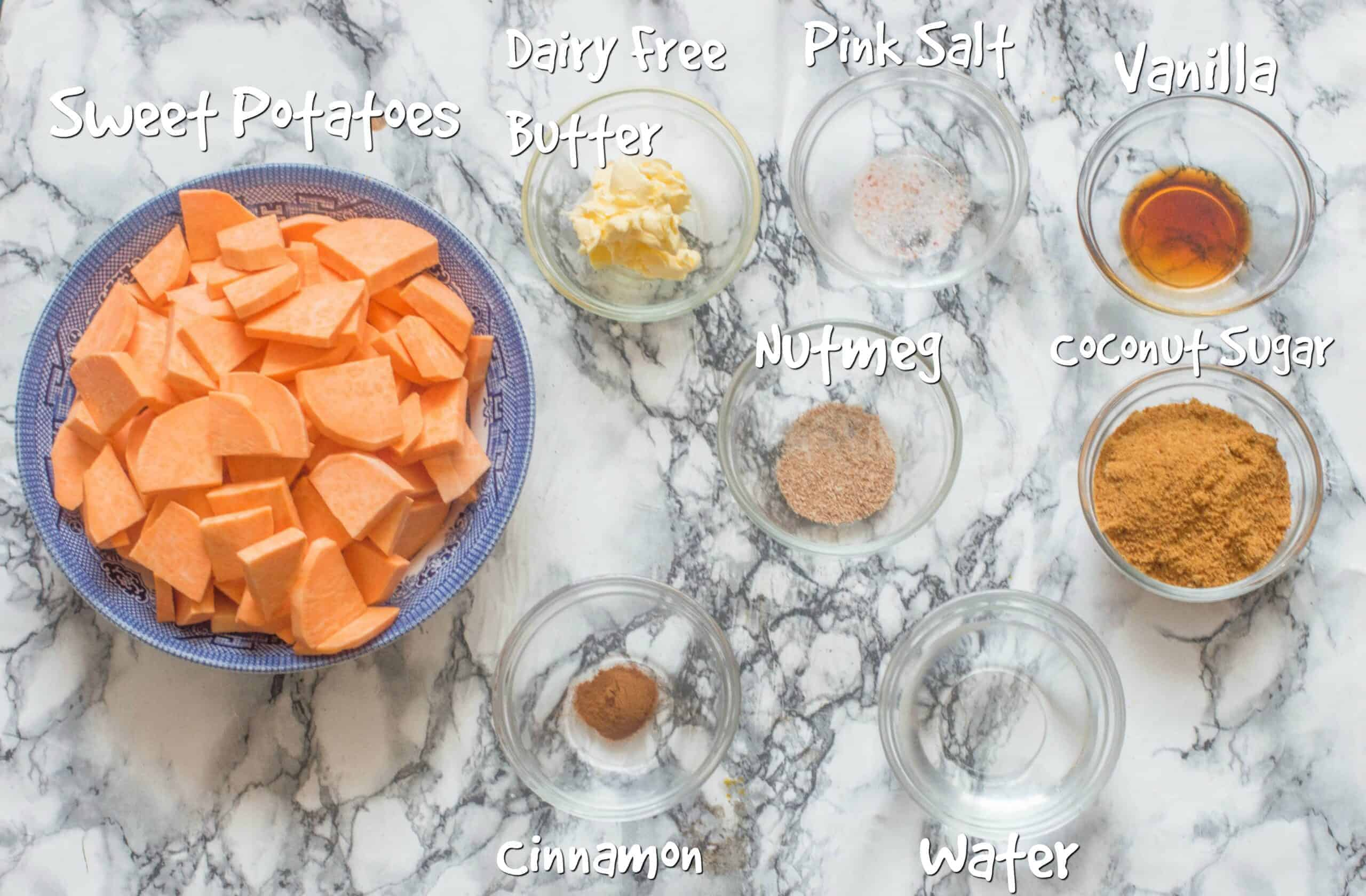 ingredients for stove top candied yams