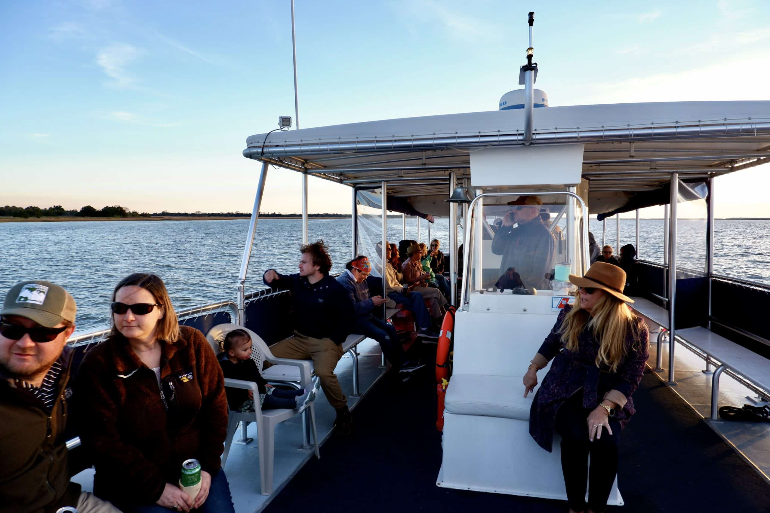 Large group of people enjoying the boat ride. Party boat rental Charleston, SC