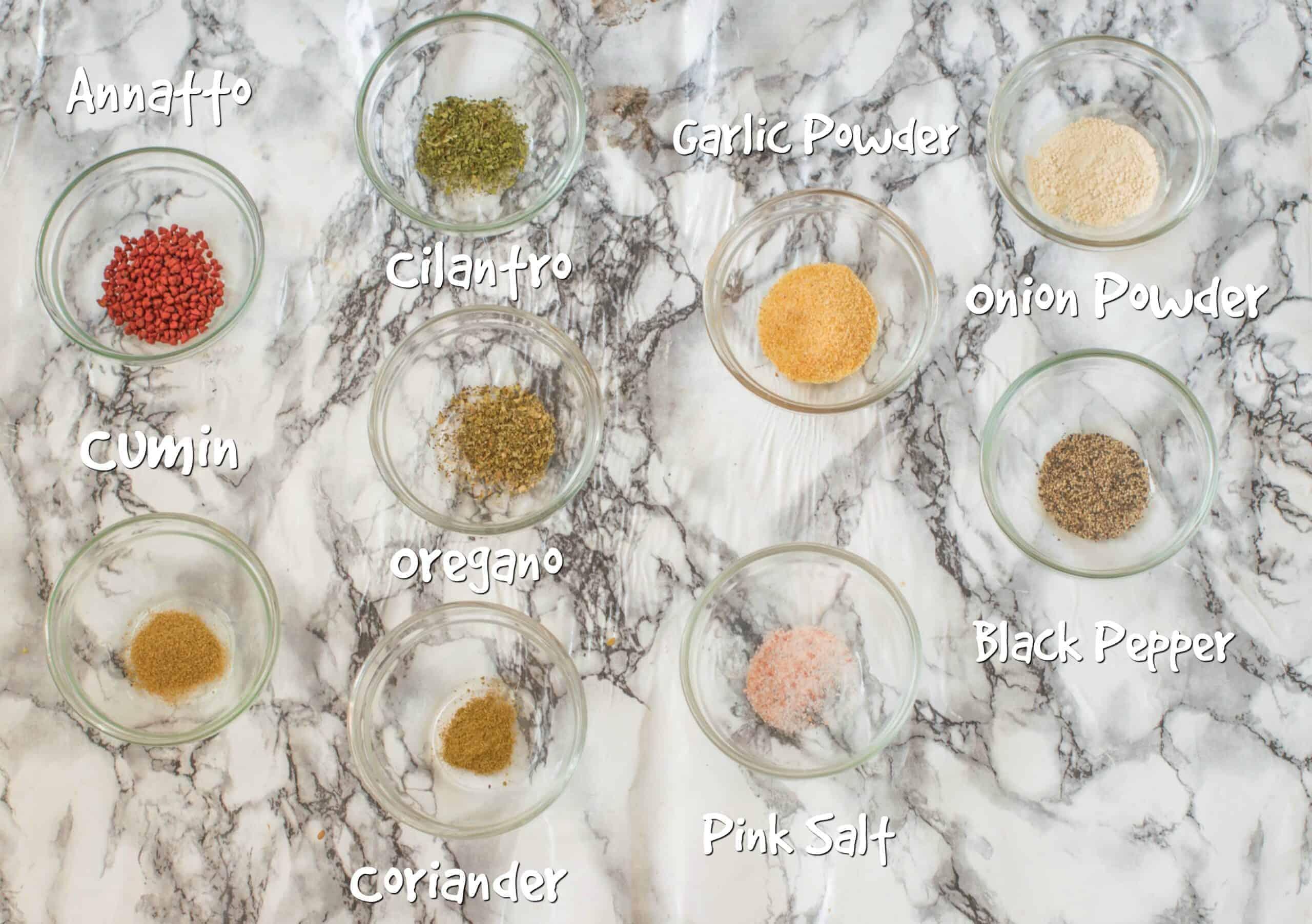 ingredients for sazon seasoning
