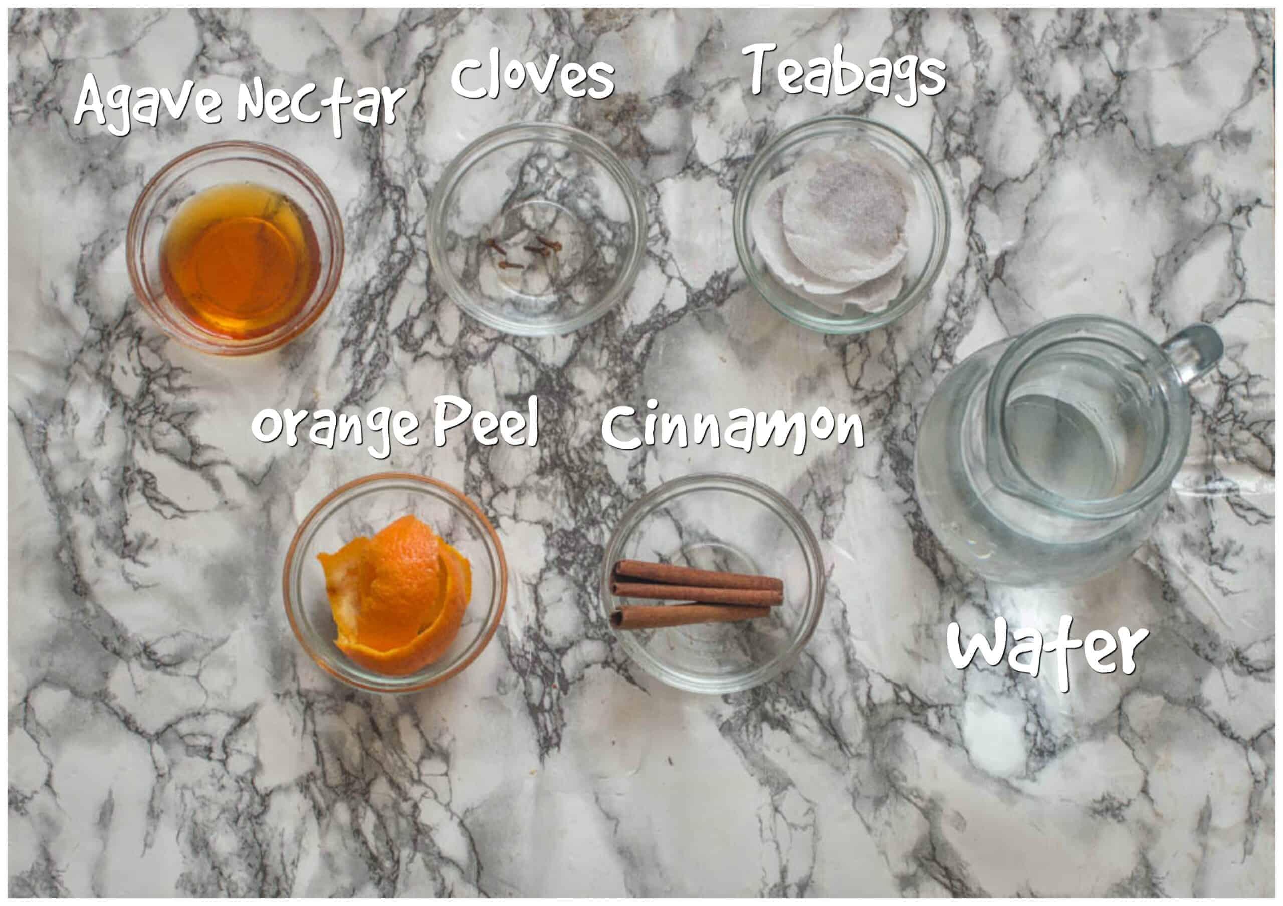 ingredients for cinnamon orange cold brew tea