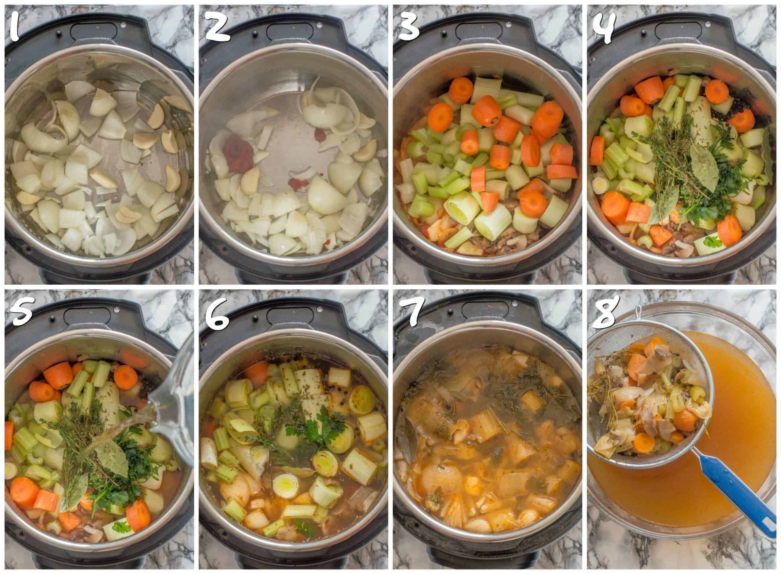 steps 1-8 cooking the veggies in an instant pot