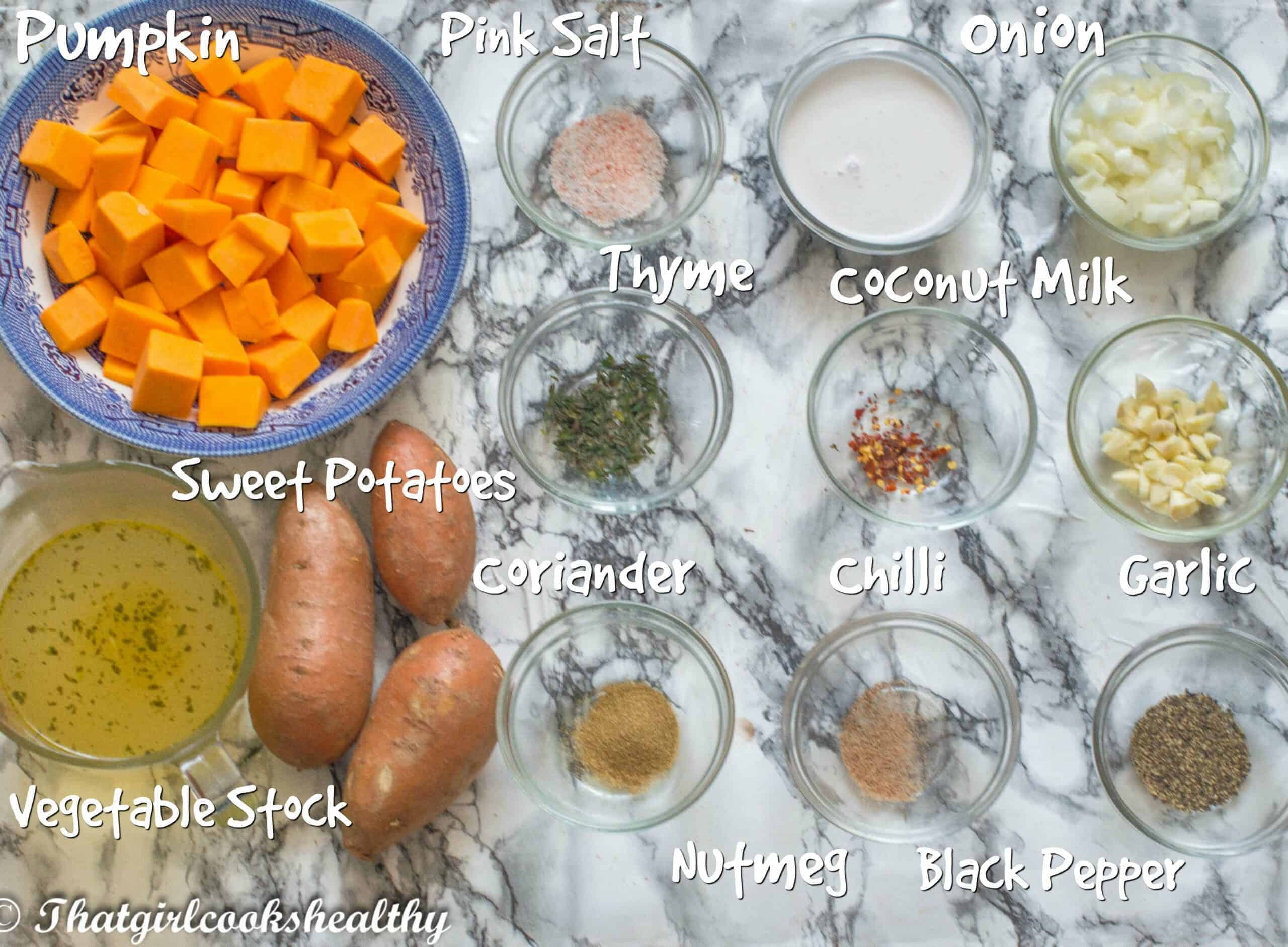 ingredients for the pumpkin and sweet potato soup