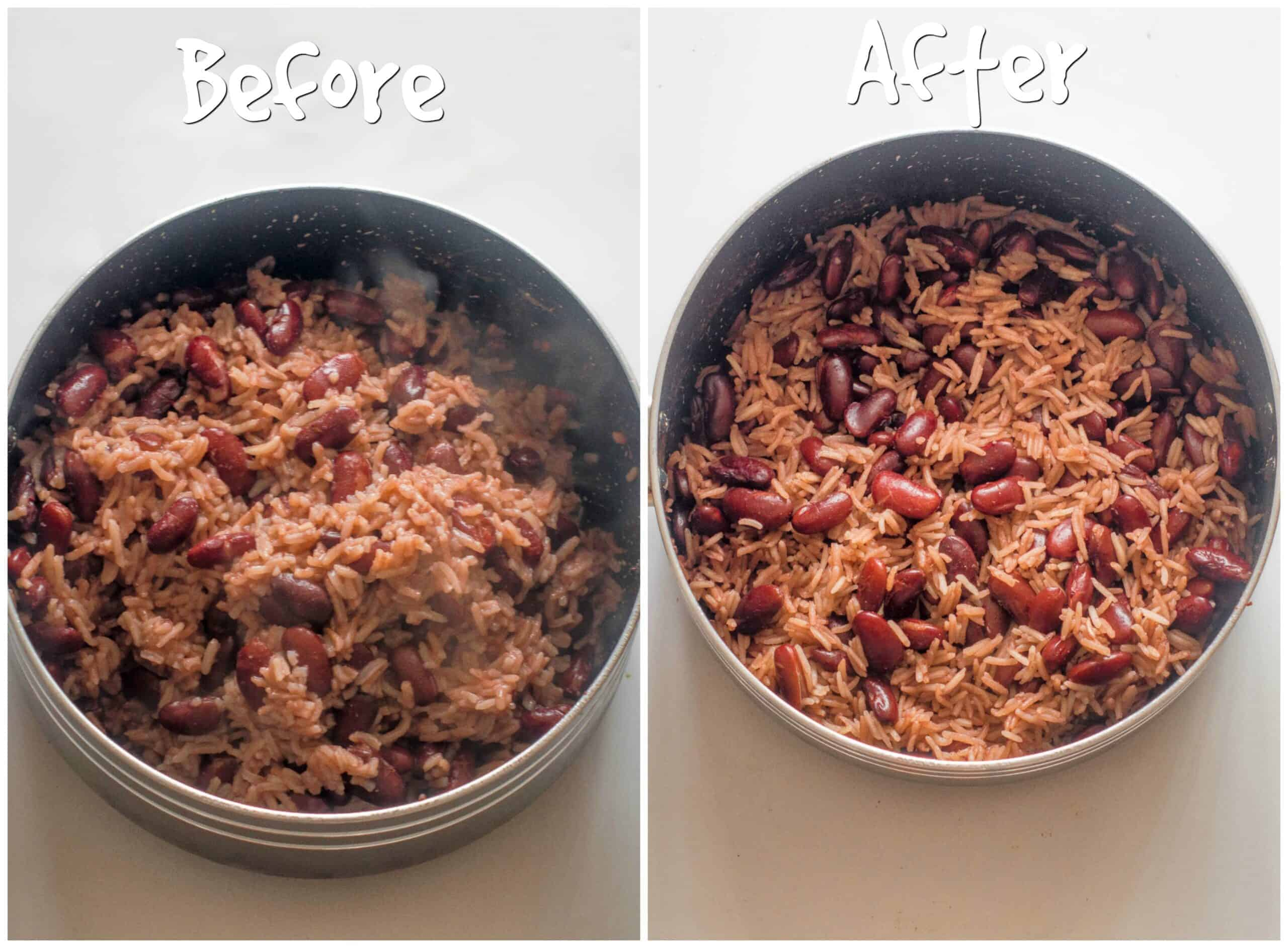 rice and peas before and after shot