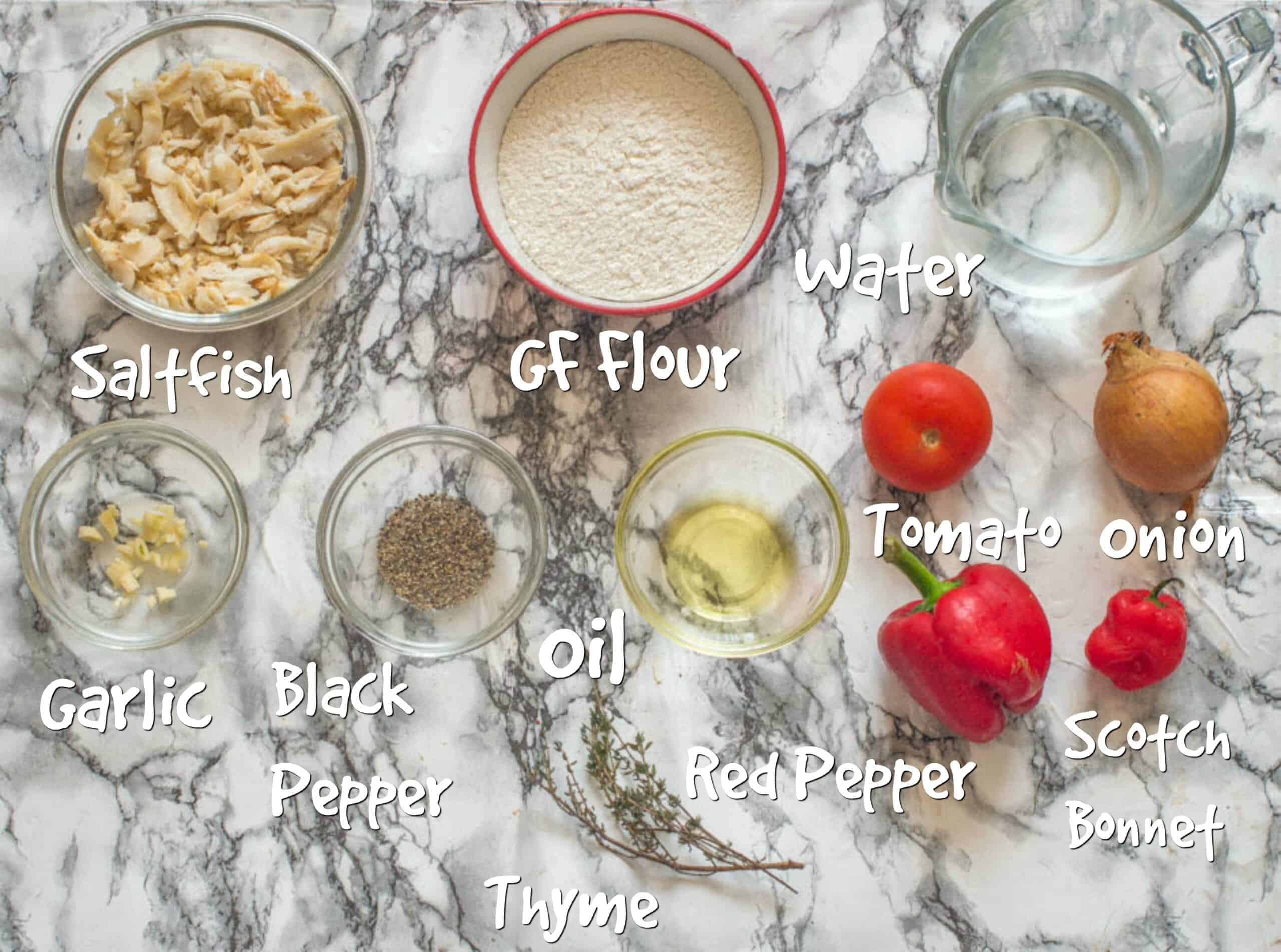 ingredients for saltfish fritters