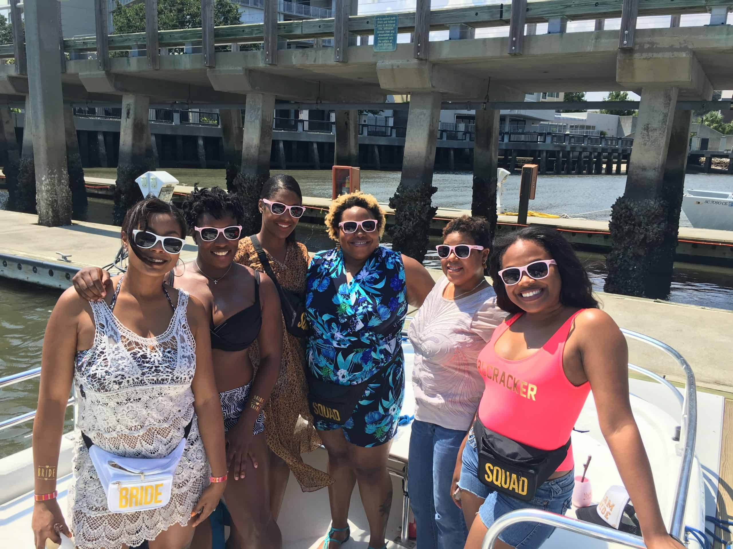 Bachelorette party pictured on the docked boat. Charleston bachelorette party boat