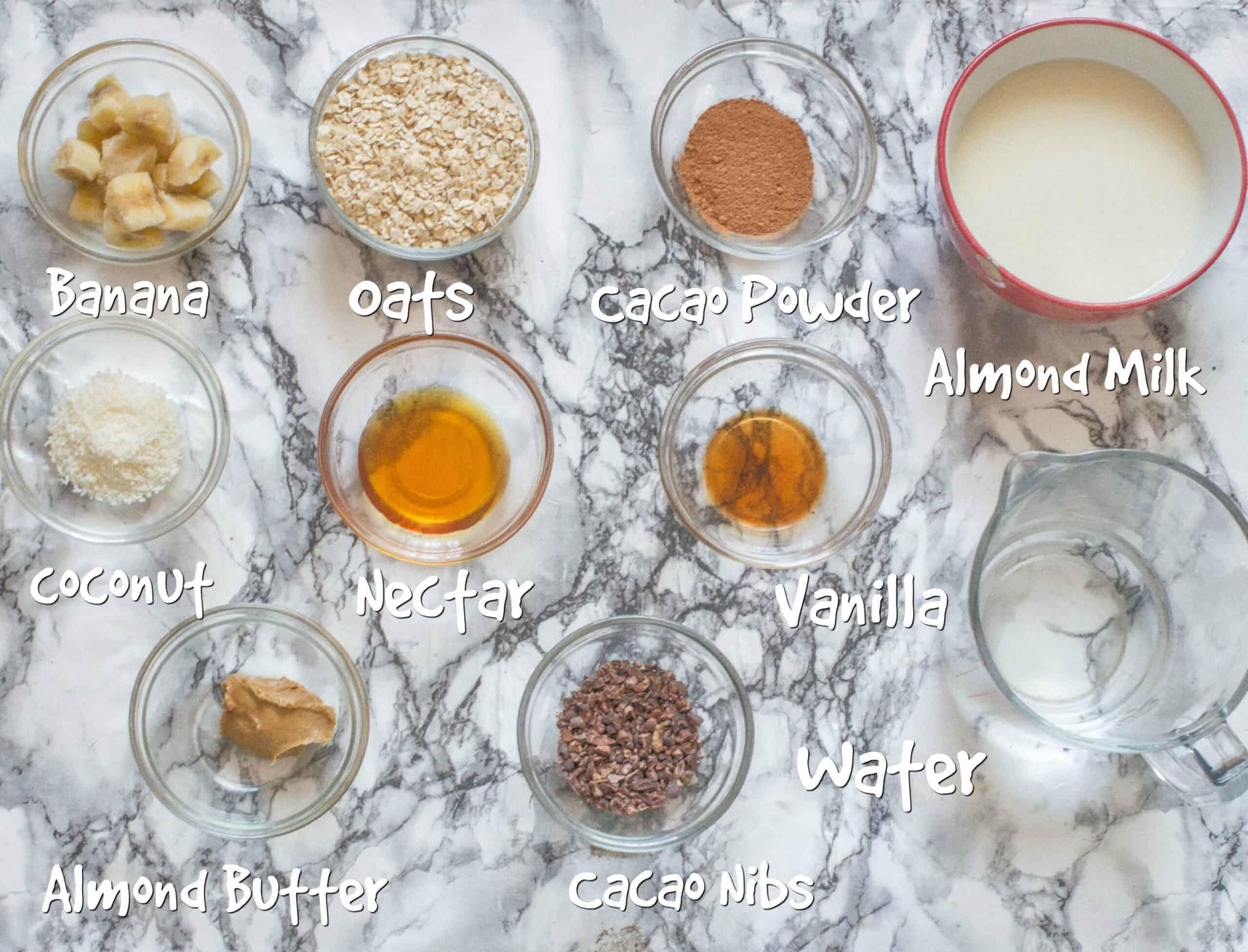 ingredients for chocolate coconut porridge
