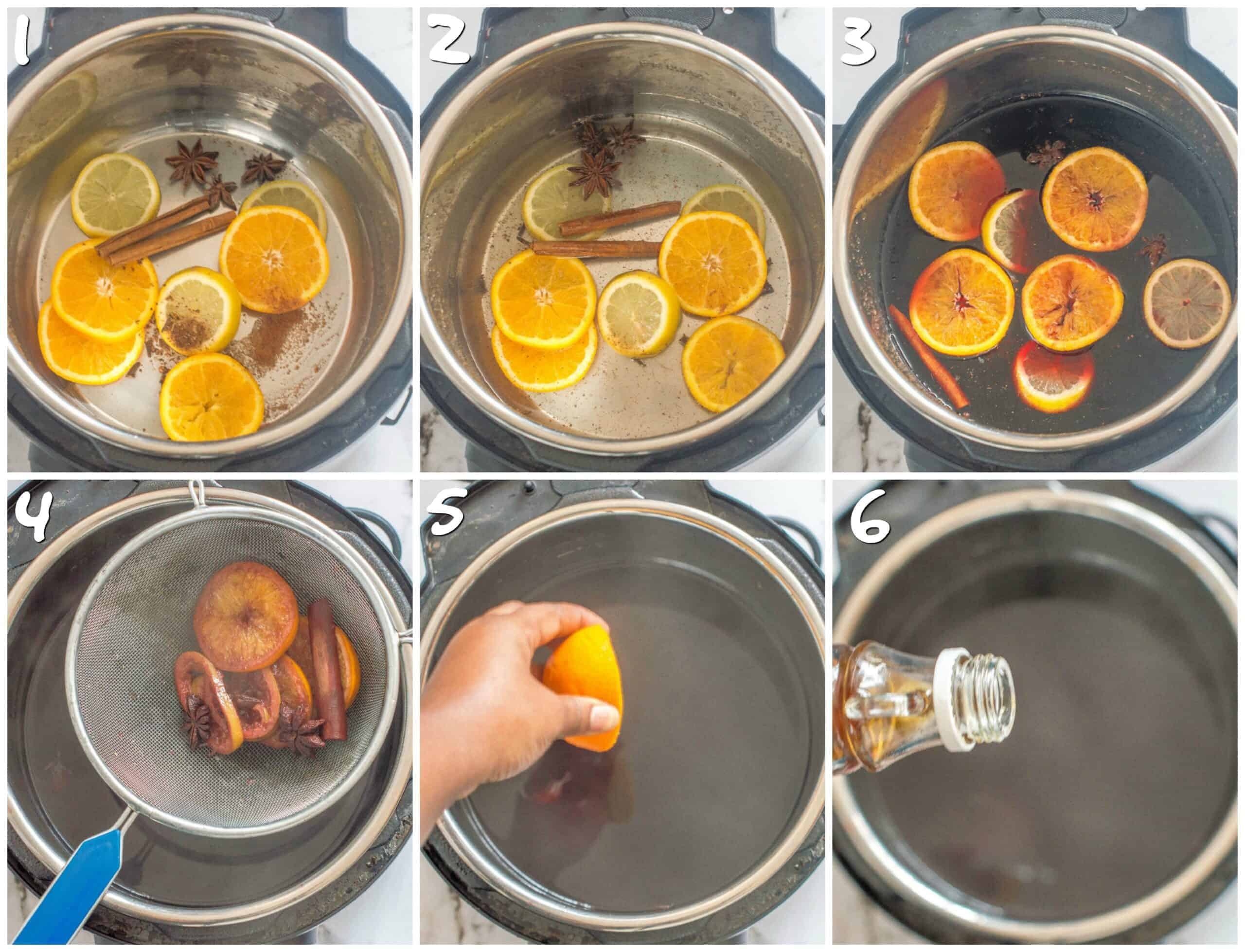 steps 1-6 making mulled wine in the instant pot