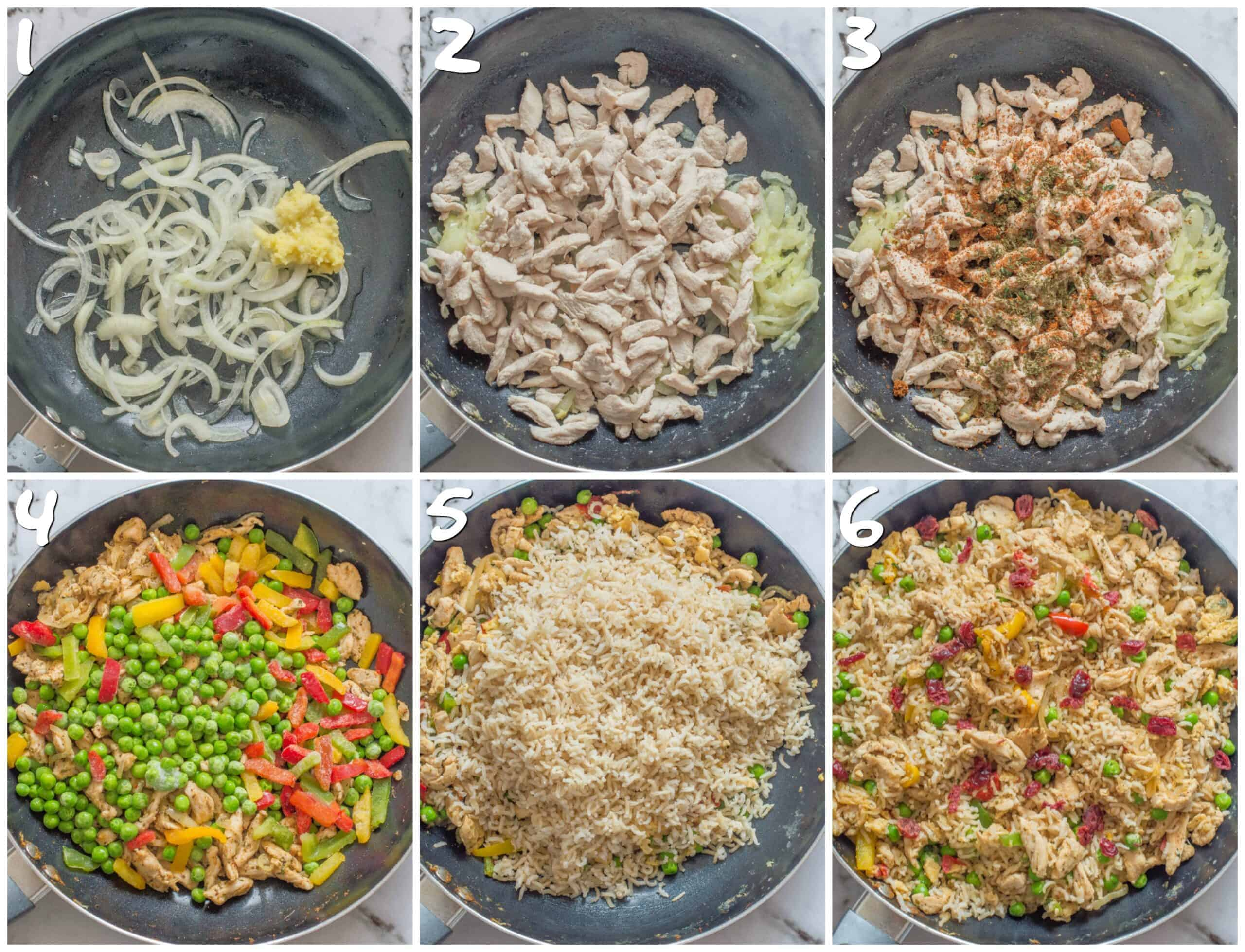 steps 1-6 making the fried rice