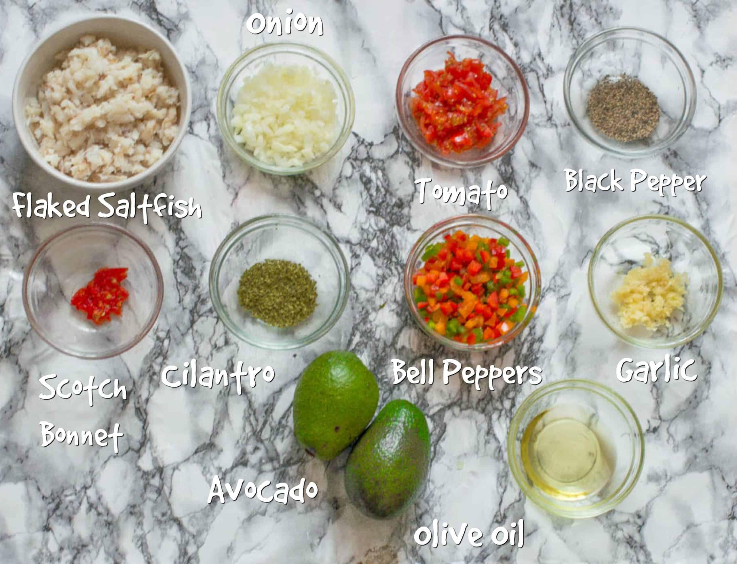 ingredients for saltfish buljol