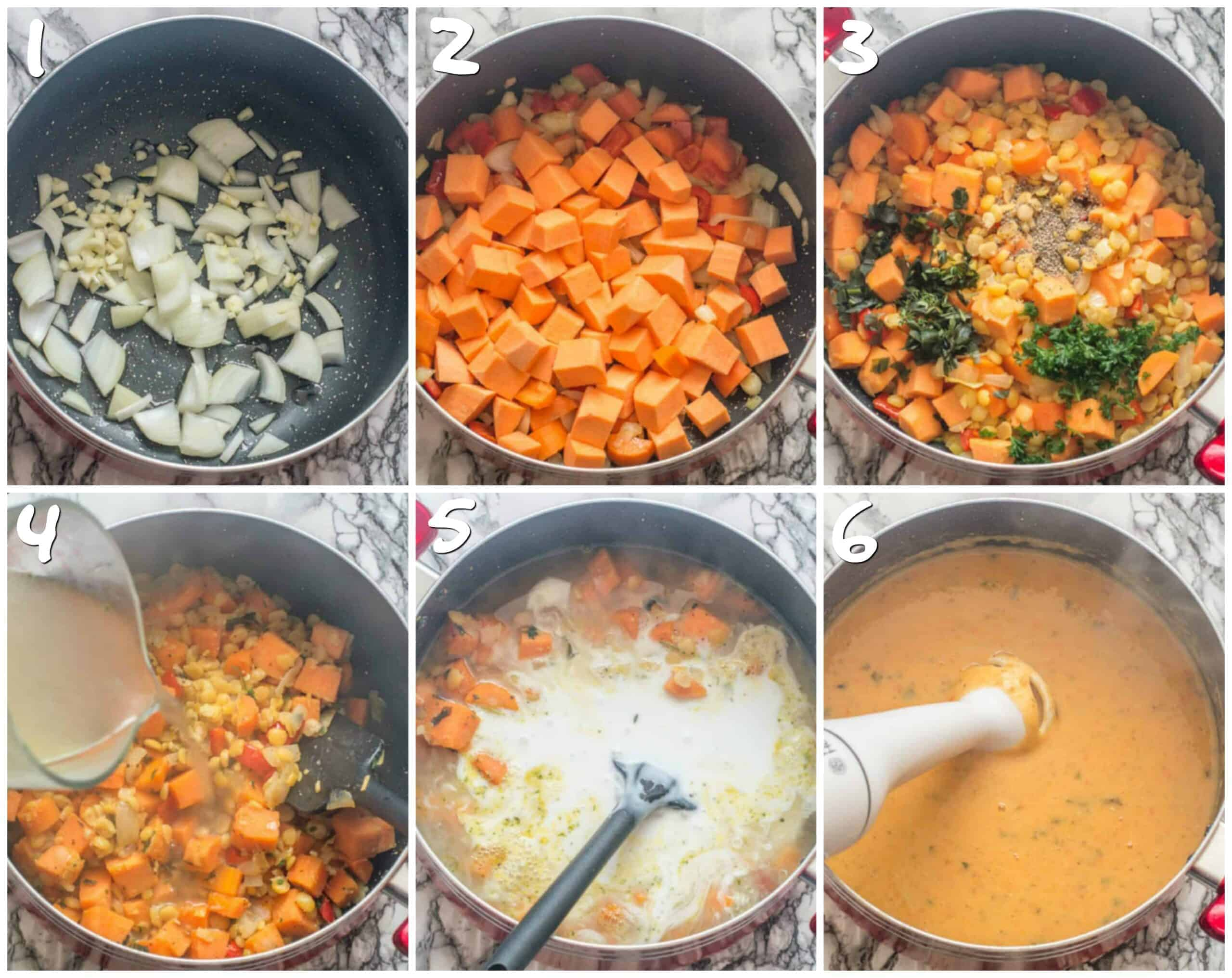 steps 1-6 sauteing the vegetables and pureeing the split peas