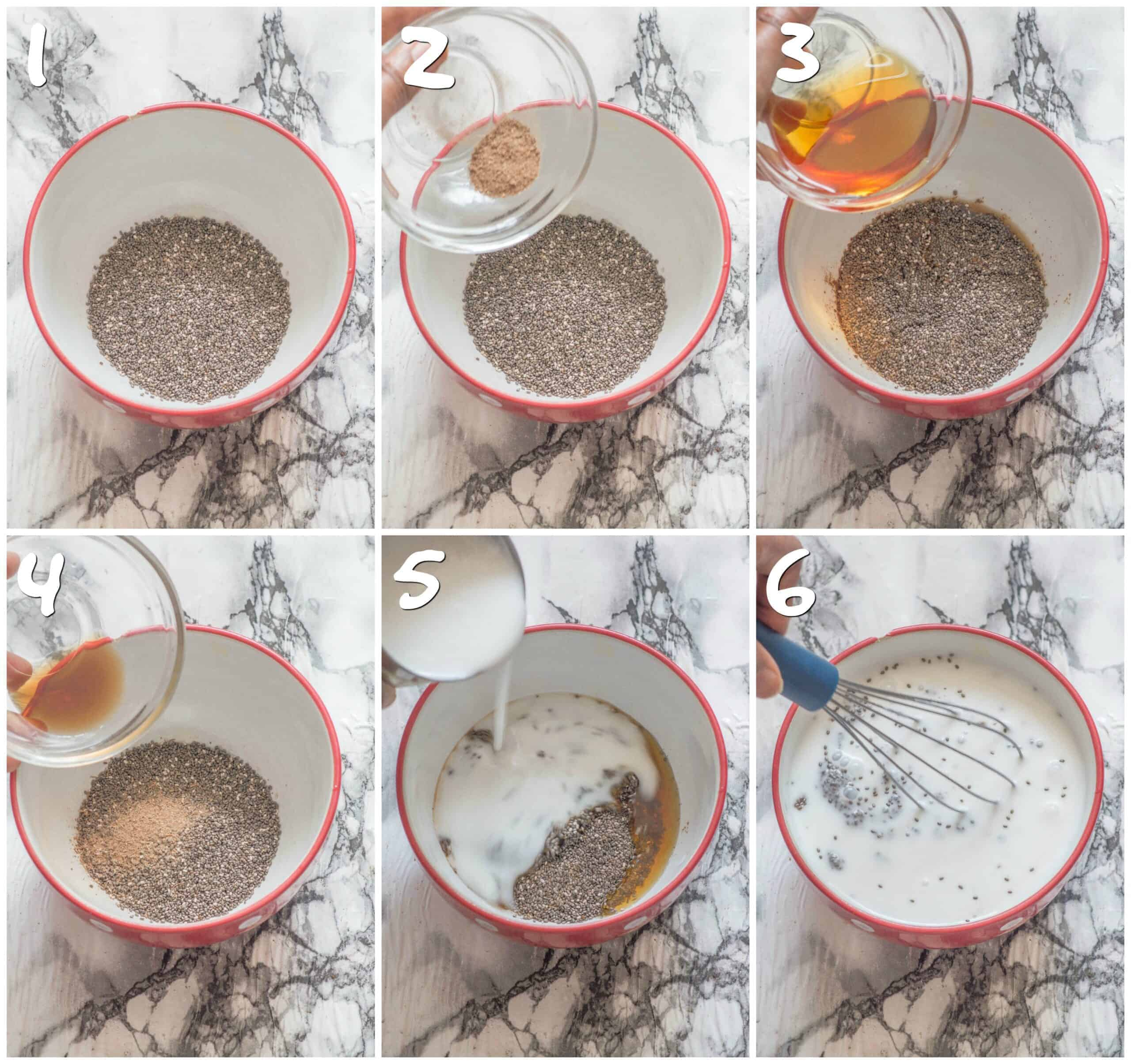 steps 1-6 making the chia pudding