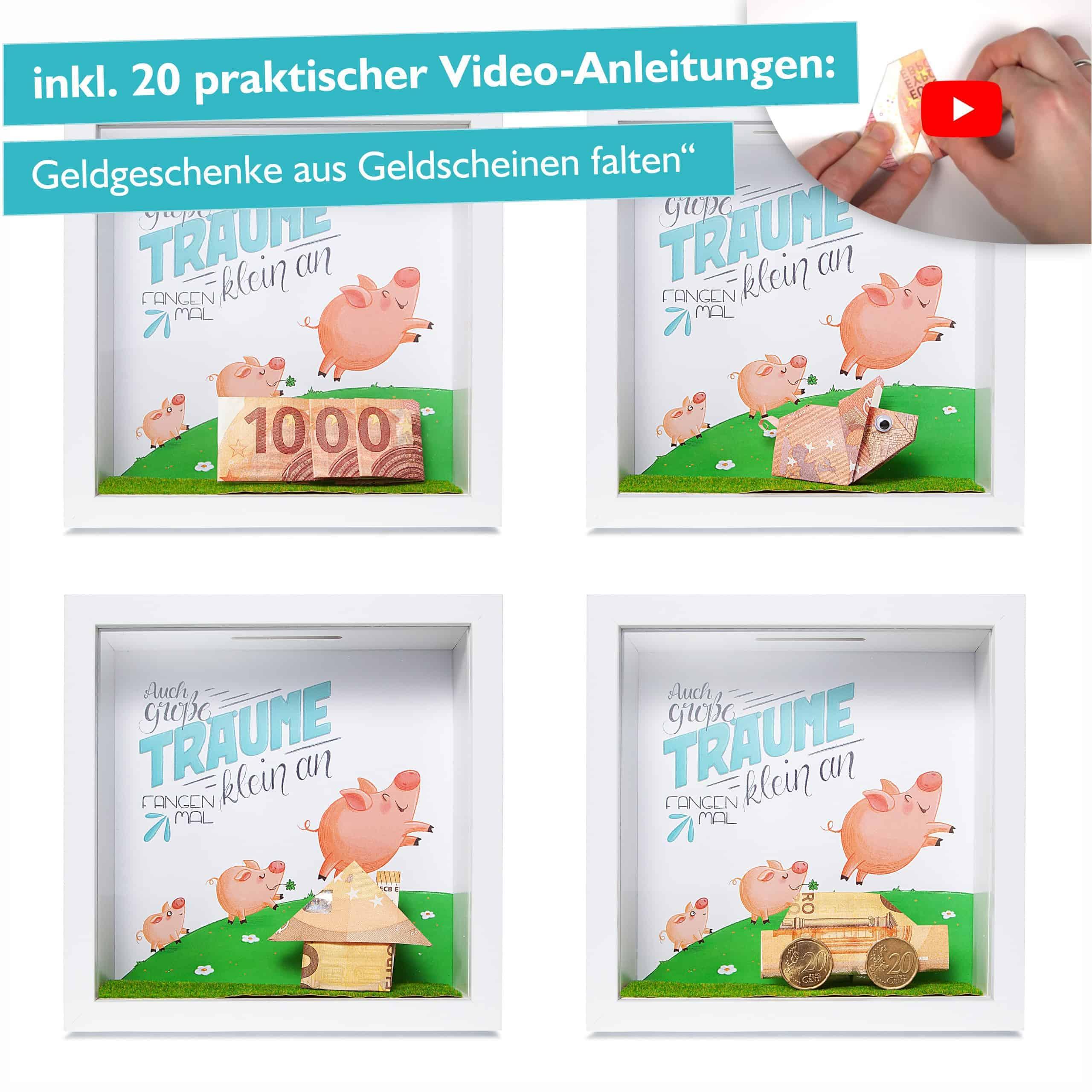 Glückswolke Geldgeschenk Verpackung Bilderrahmen mit Sparschwein