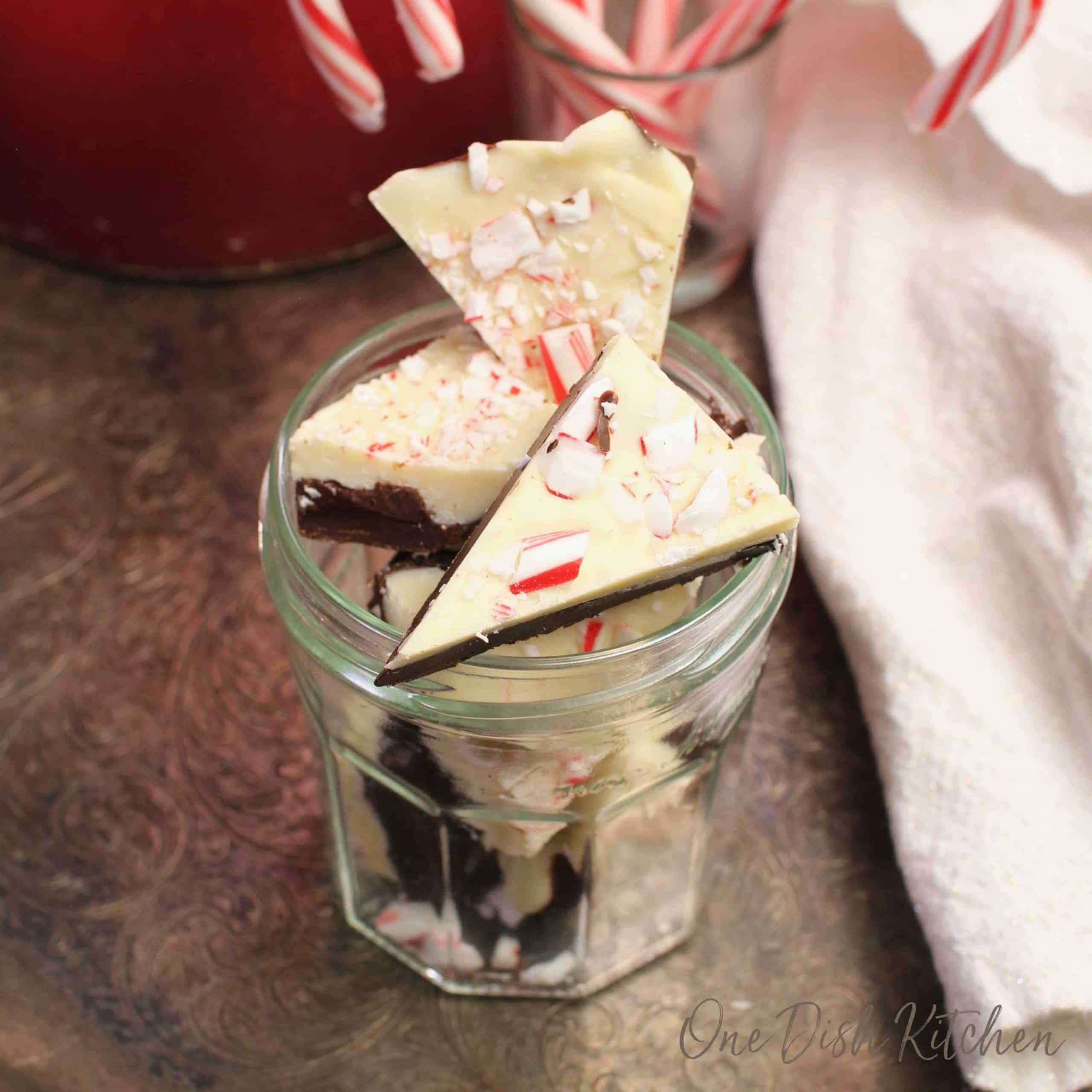 chocolate candies cut into wedges topped with crushed peppermint candy.