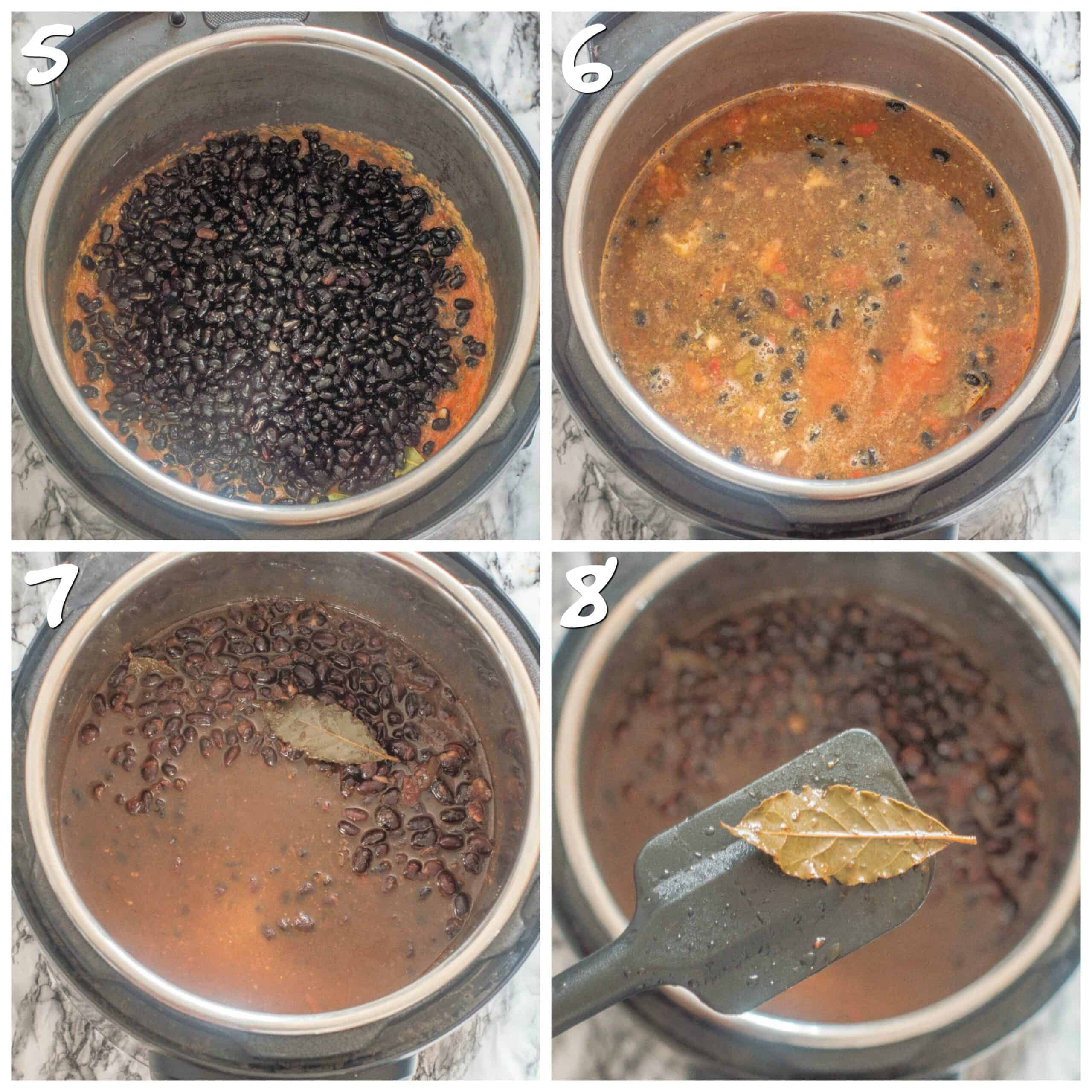 steps 5-8 cooking the black beans and removing the bay leaf