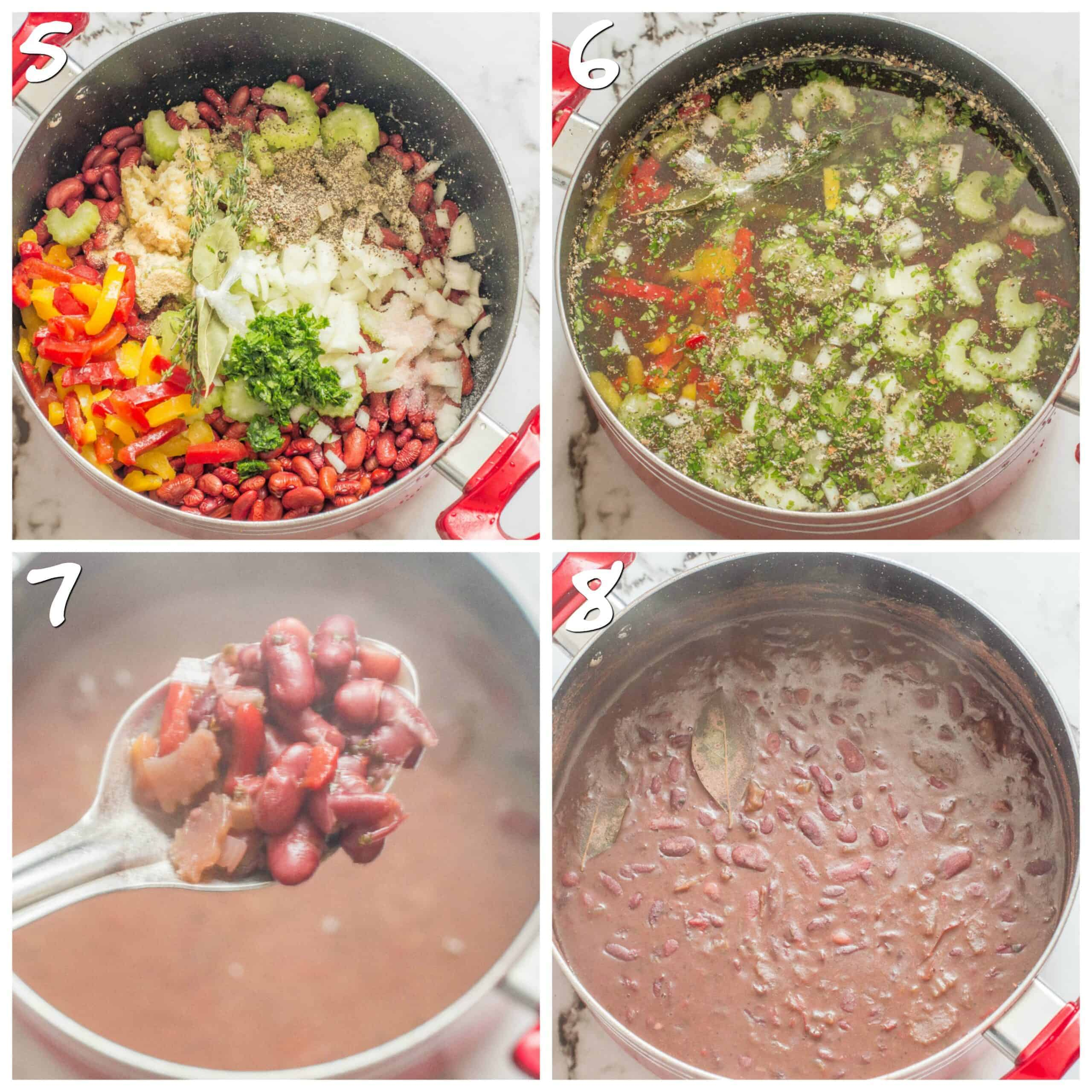 steps 5-8 cooking the beans to make stew