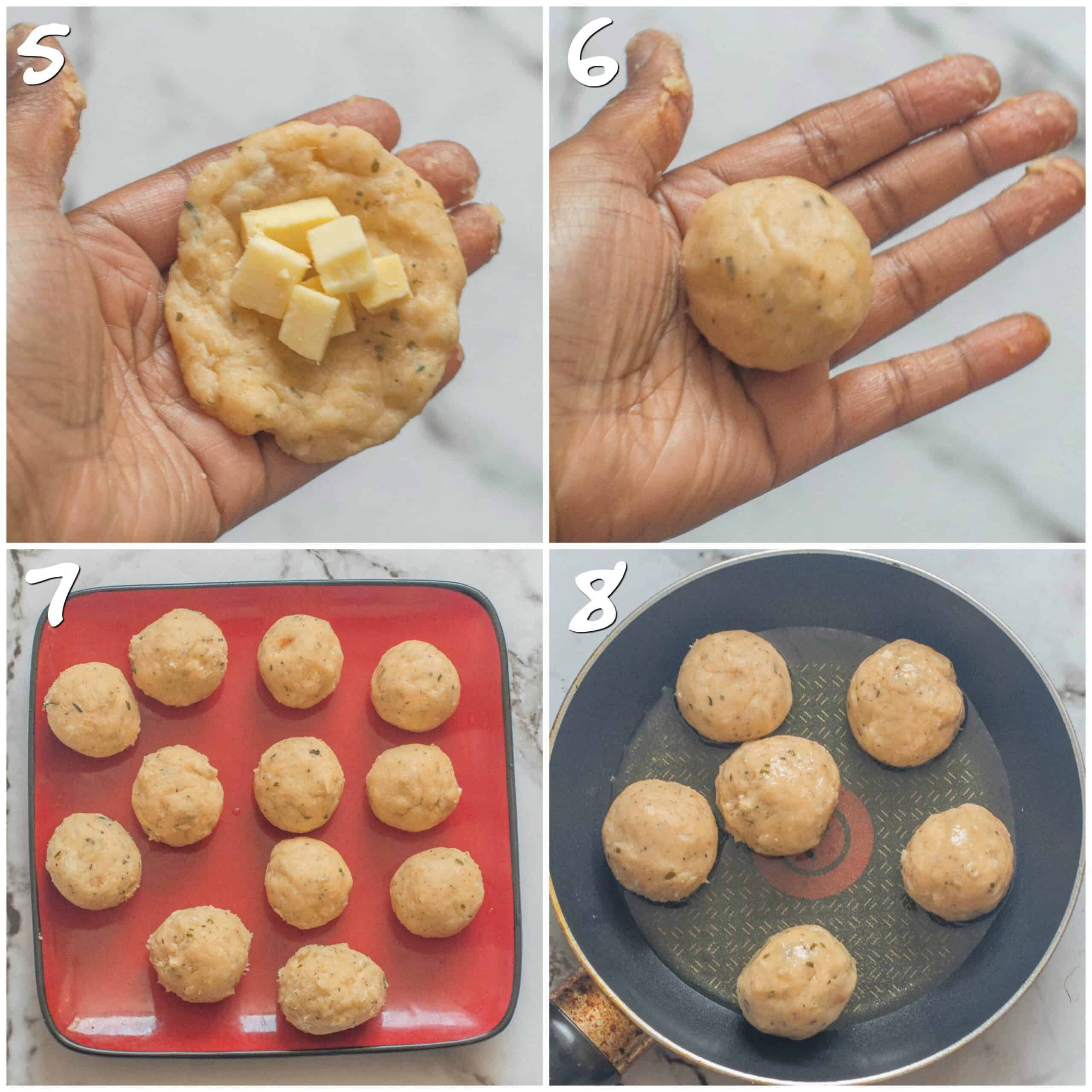 steps5-8 shaping the cheese balls