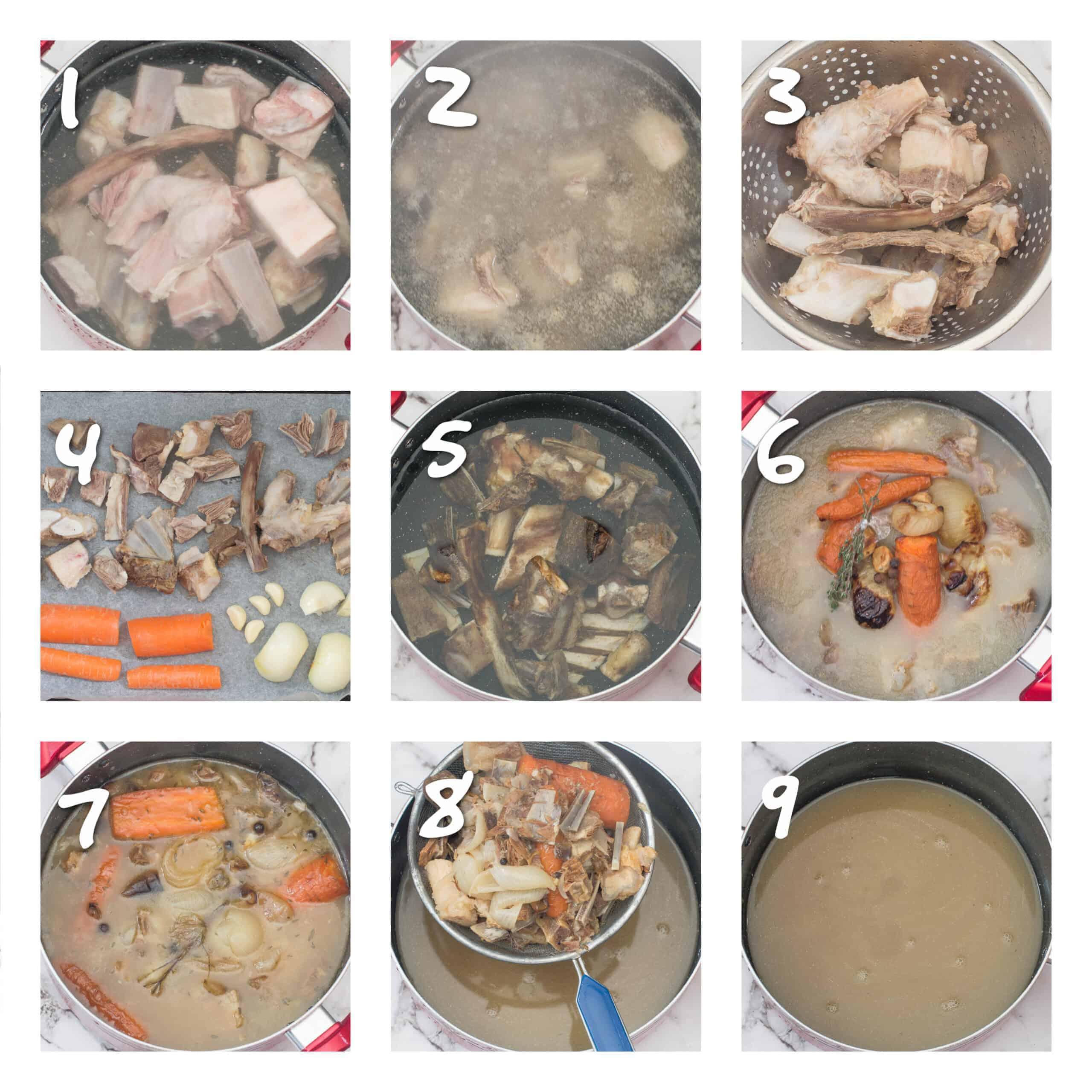 steps1-9 boiling bones and vegetables for stock